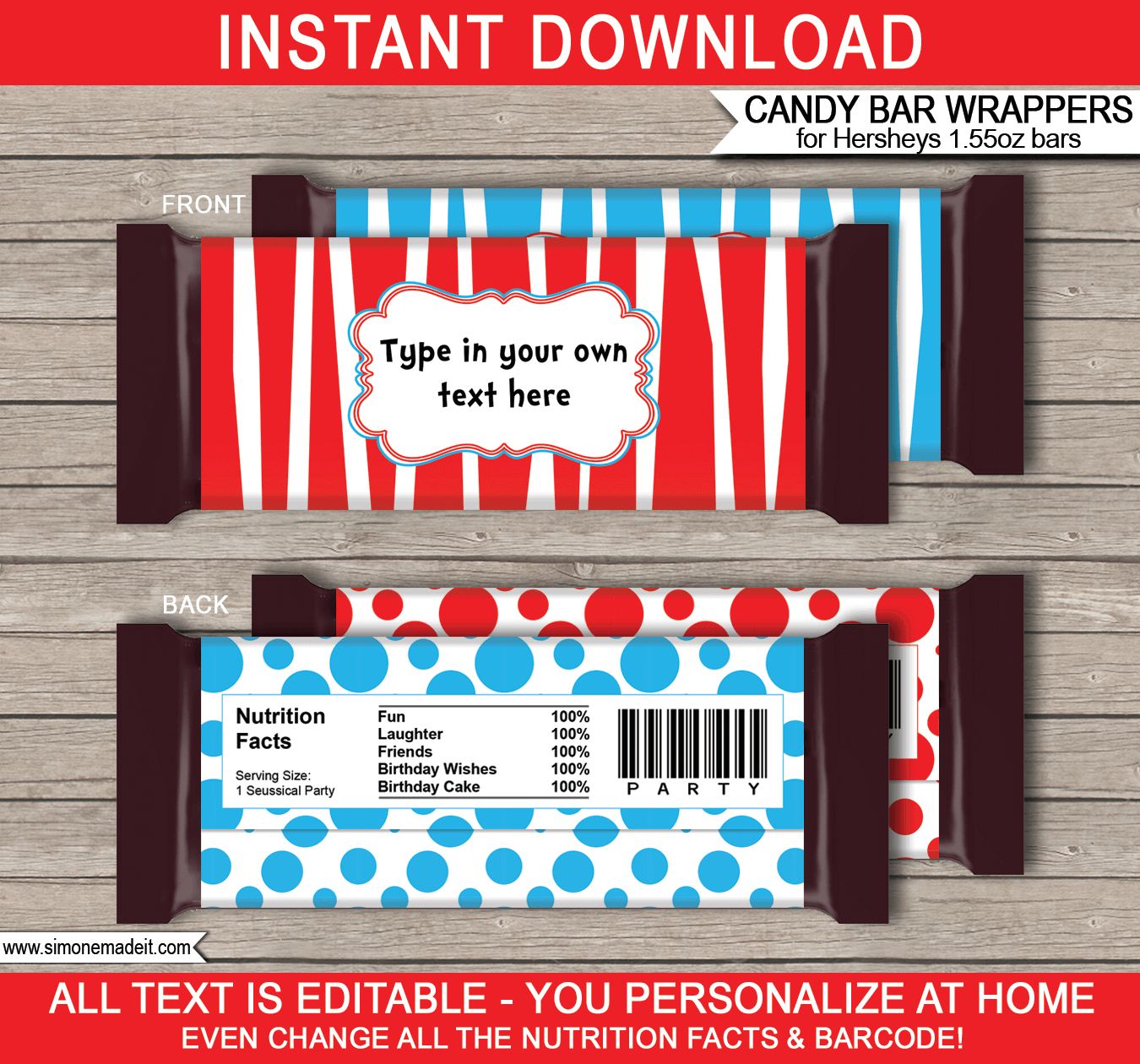 Dr Seuss Hershey Candy Bar Wrappers | Personalized Candy Bars - Free Printable Birthday Candy Bar Wrappers