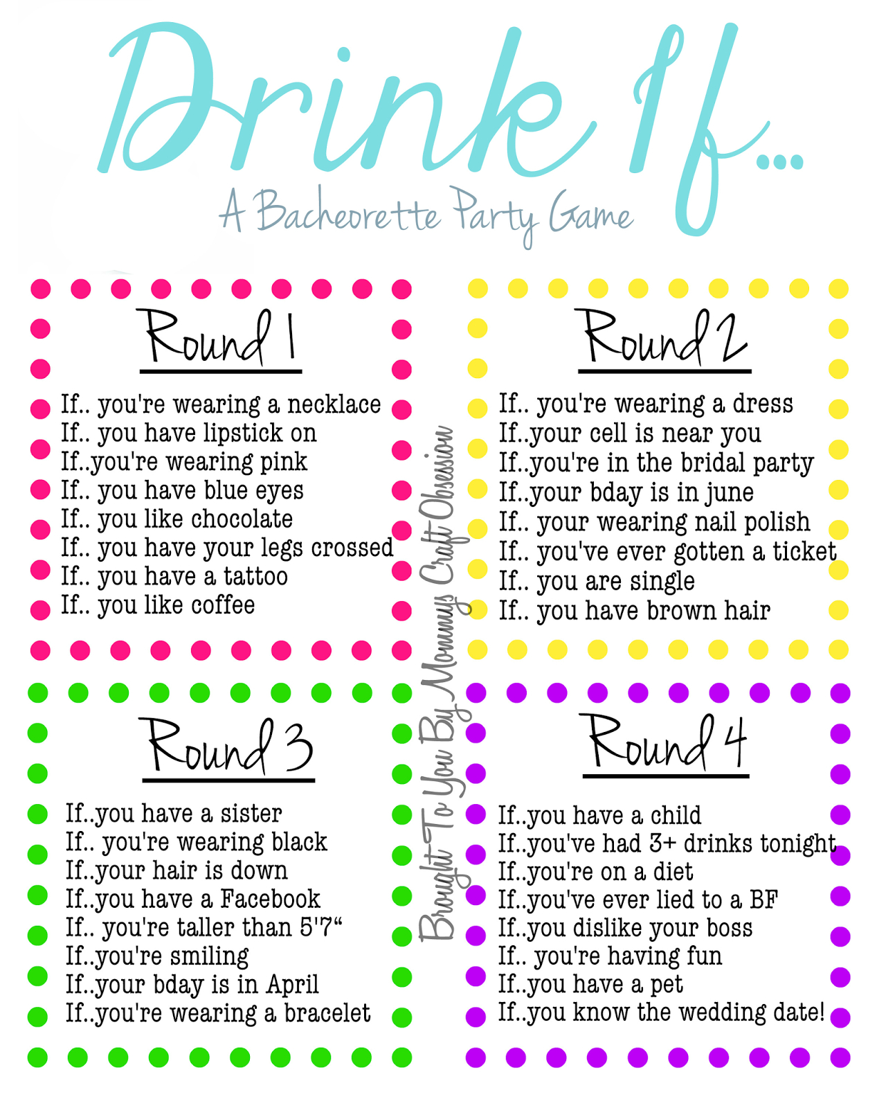 Drink If… A Bachelorette Party Game {Free Printable}   Bachelorette - Free Printable Women's Party Games