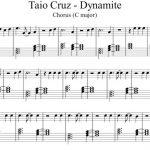 Dynamite   Taio Cruz (Chorus)   Easy Piano Sheet Music | Resin Art   Dynamite Piano Sheet Music Free Printable