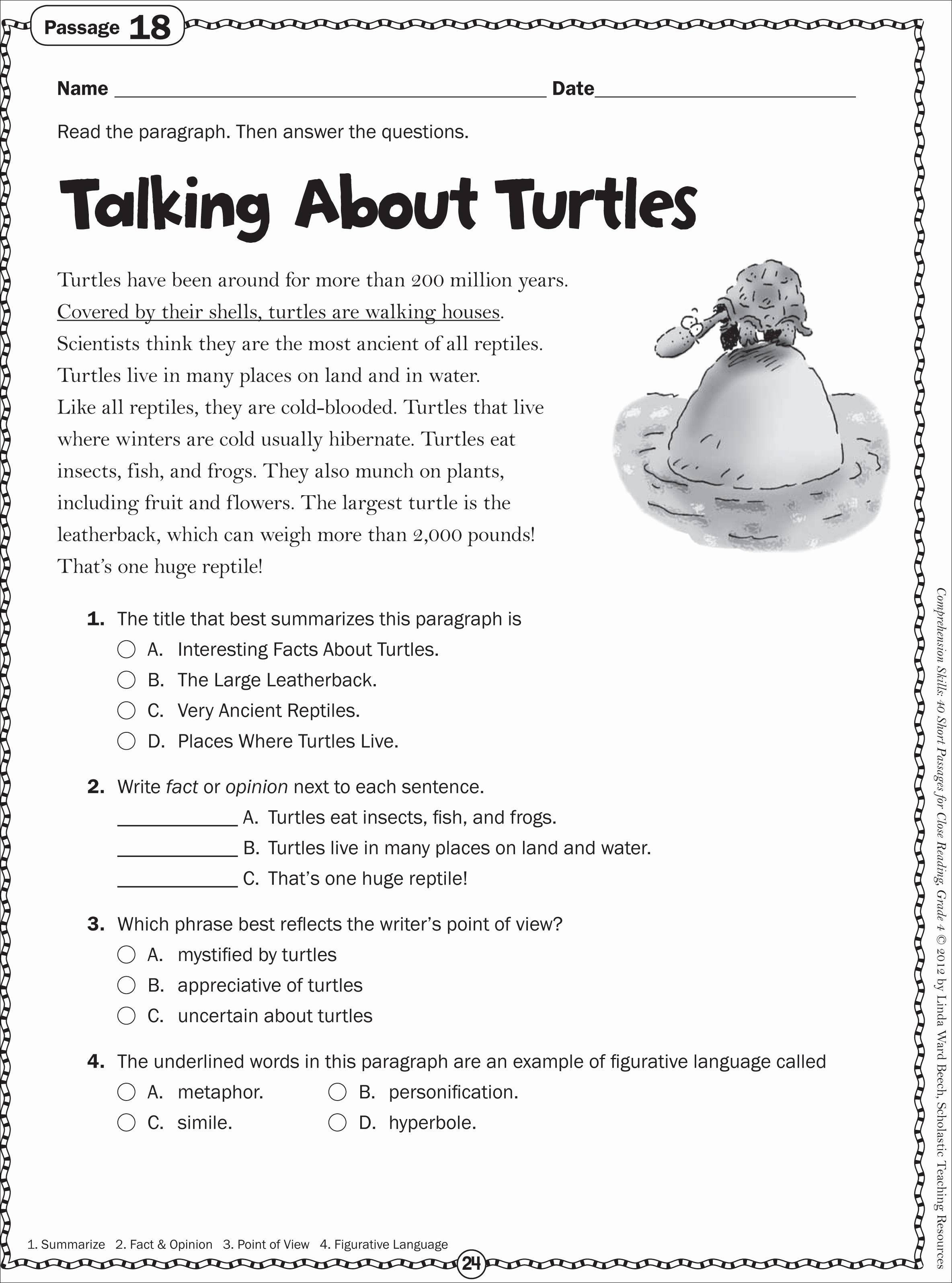 √ 2Nd Grade Reading Comprehension Worksheets Free Printable - Free Printable Reptile Worksheets