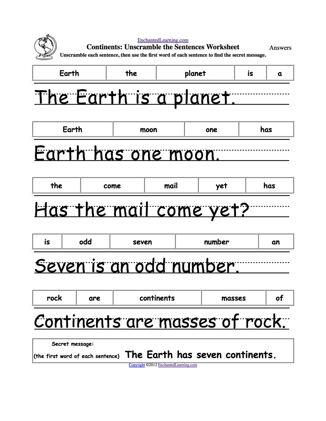 Earth Day Crafts Enchantedlearning. | Grade 1 - Free Printable Scrambled Sentences Worksheets