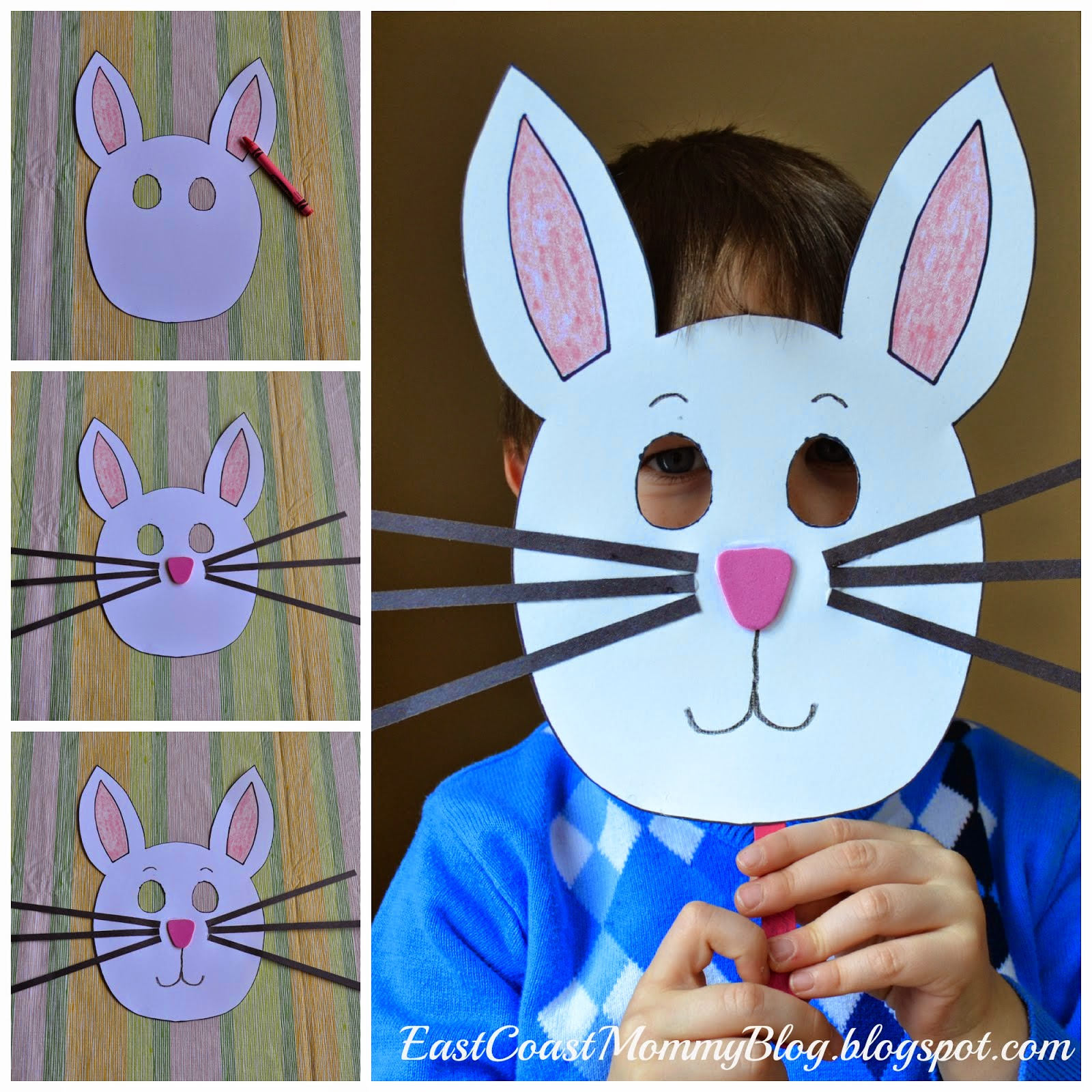 East Coast Mommy: Bunny Mask {Preschool Craft} - Free Printable Easter Masks