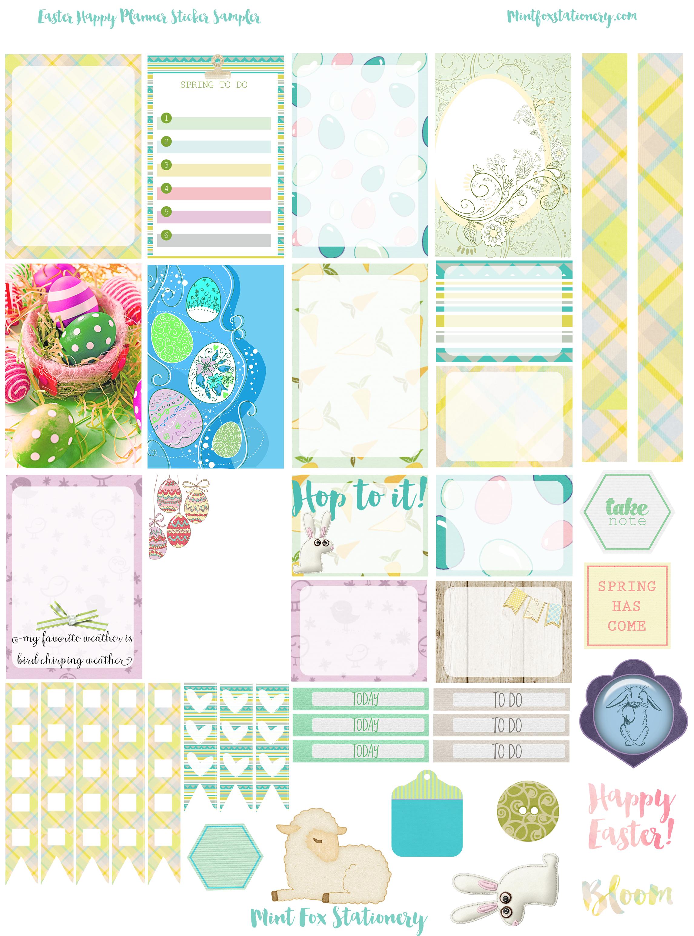 Easter Happy Planner Printable Sticker Sampler Free! - Free Printable Planner Stickers