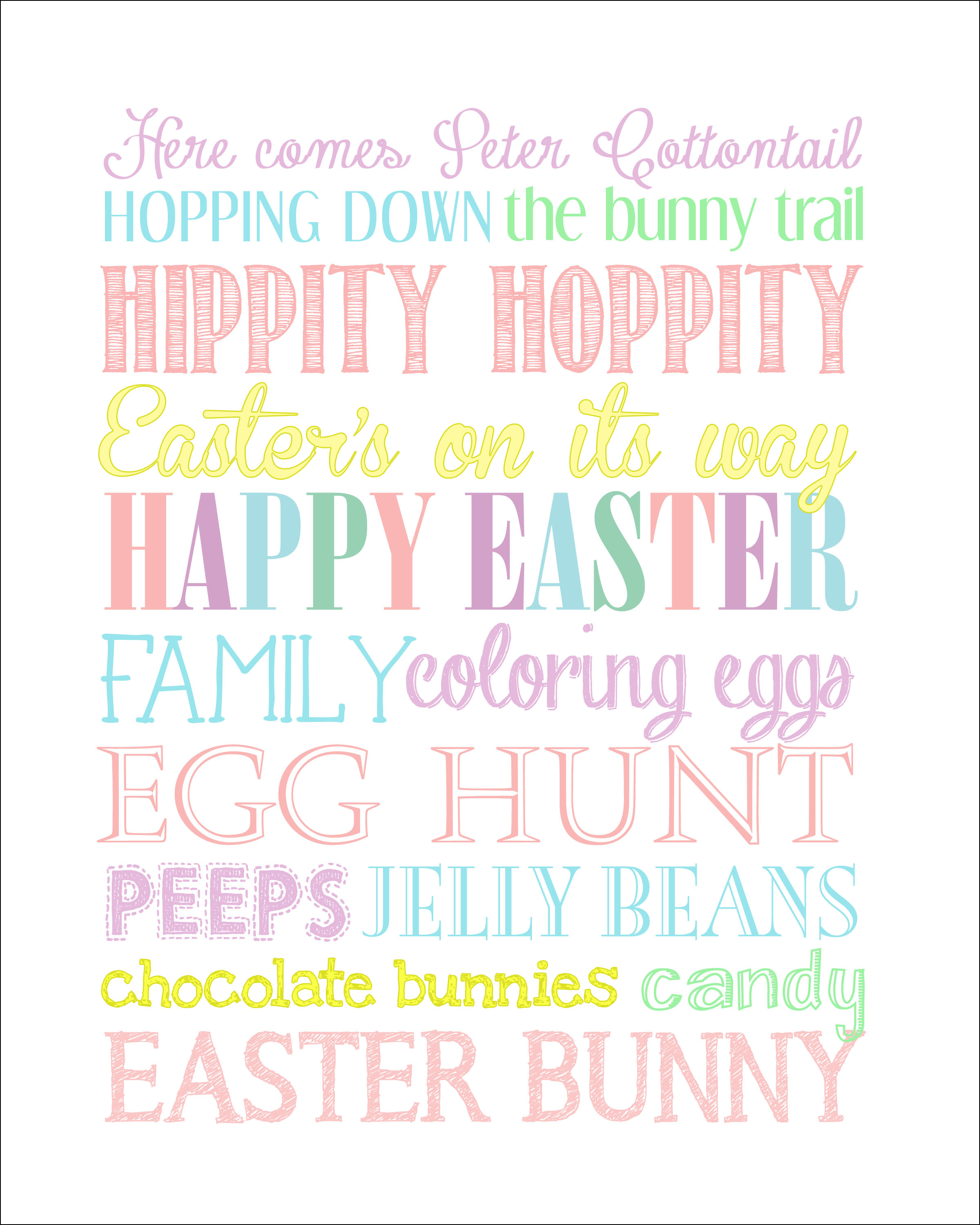 Easter Subway Art {Free Printable} - How To Nest For Less™ - Free Printable Easter Images
