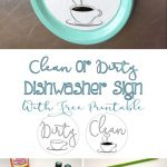Easy Clean Or Dirty Dishwasher Sign With Free Printable   Free Printable Clean Dirty Dishwasher Sign