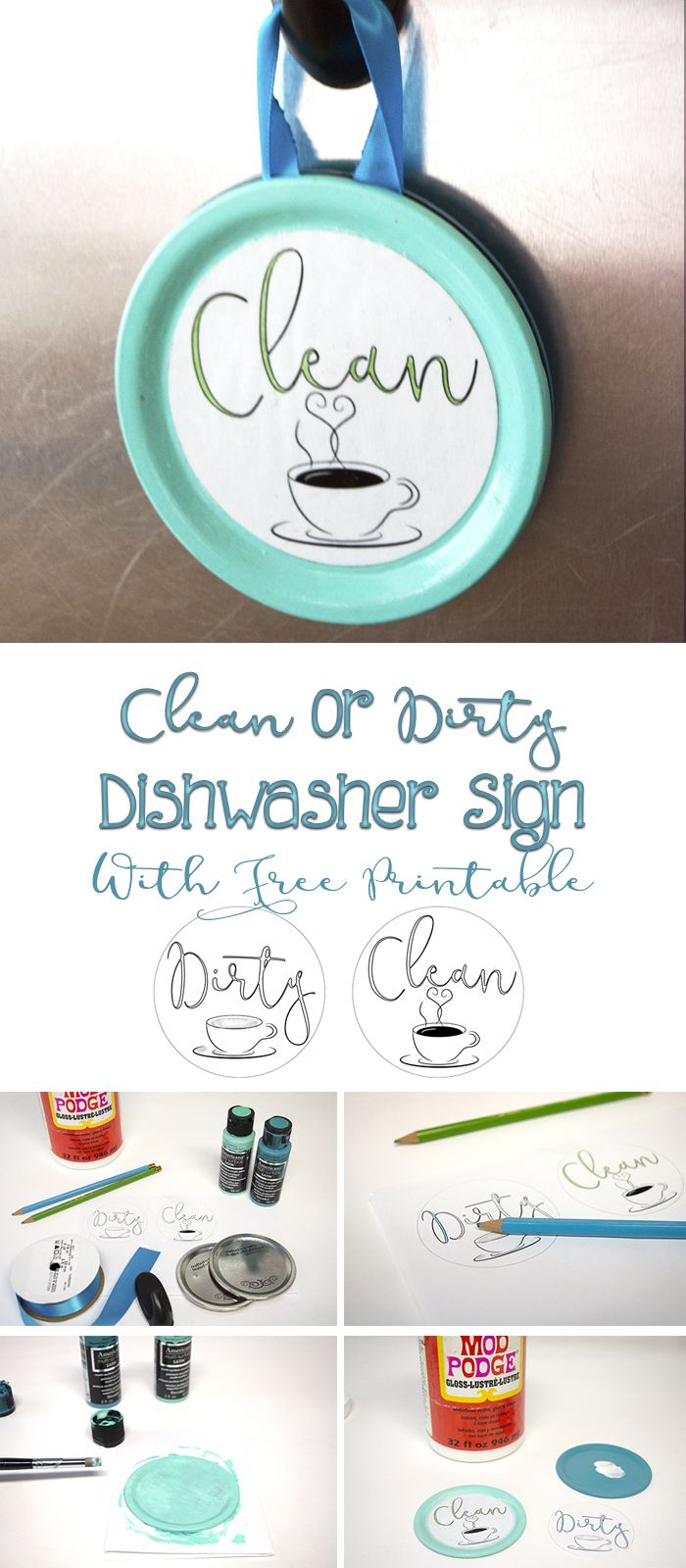 Easy Clean Or Dirty Dishwasher Sign With Free Printable - Free Printable Clean Dirty Dishwasher Sign