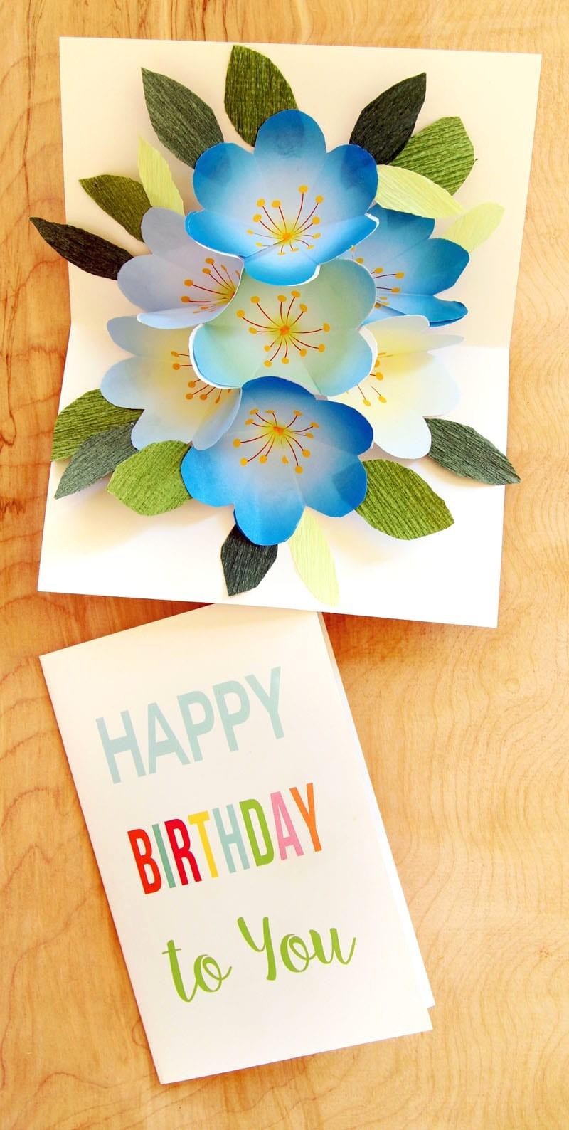 Easy Diy Free Printable Happy Birthday Card Greeting Pop Up Bouquet - Free Printable Happy Birthday Cards For Dad
