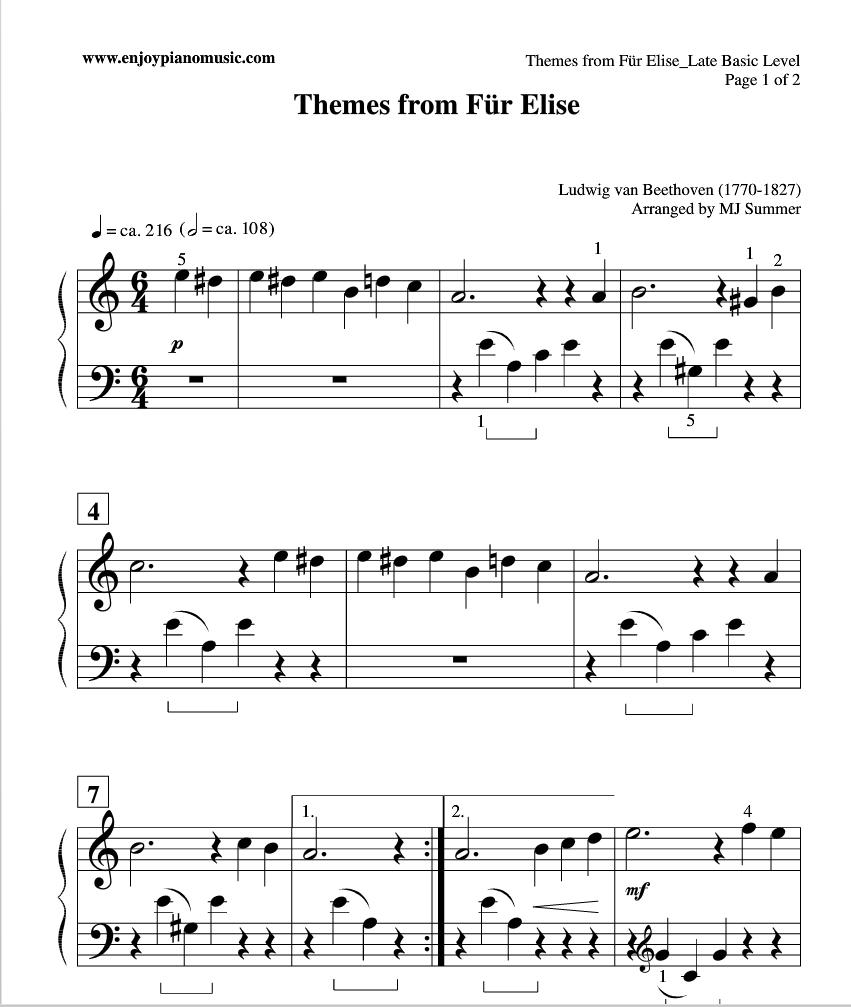 Easy Fur Elise Sheet Music For Kids Or Beginners. | Tickling The - Free Printable Piano Sheet Music Fur Elise
