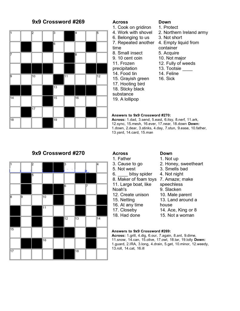 Easy Kids Crossword Puzzles | Kiddo Shelter | Educative Puzzle For - Free Printable Crossword Puzzle Maker With Answer Key