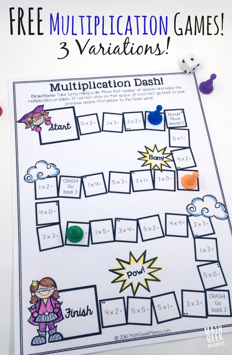 Easy, Low Prep Printable Multiplication Games! {Free} - Free Printable Maths Games