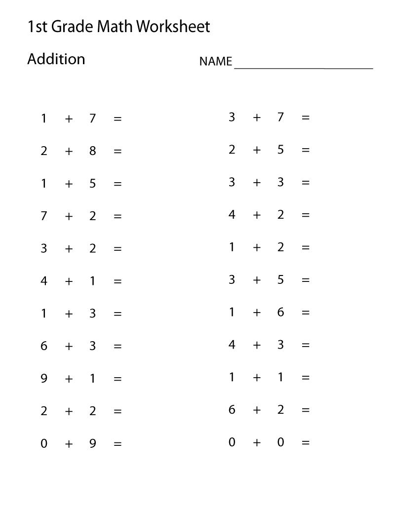 Easy Math Worksheets 1St Grade   Learning Printable   Math - Free Printable Addition Worksheets For 1St Grade