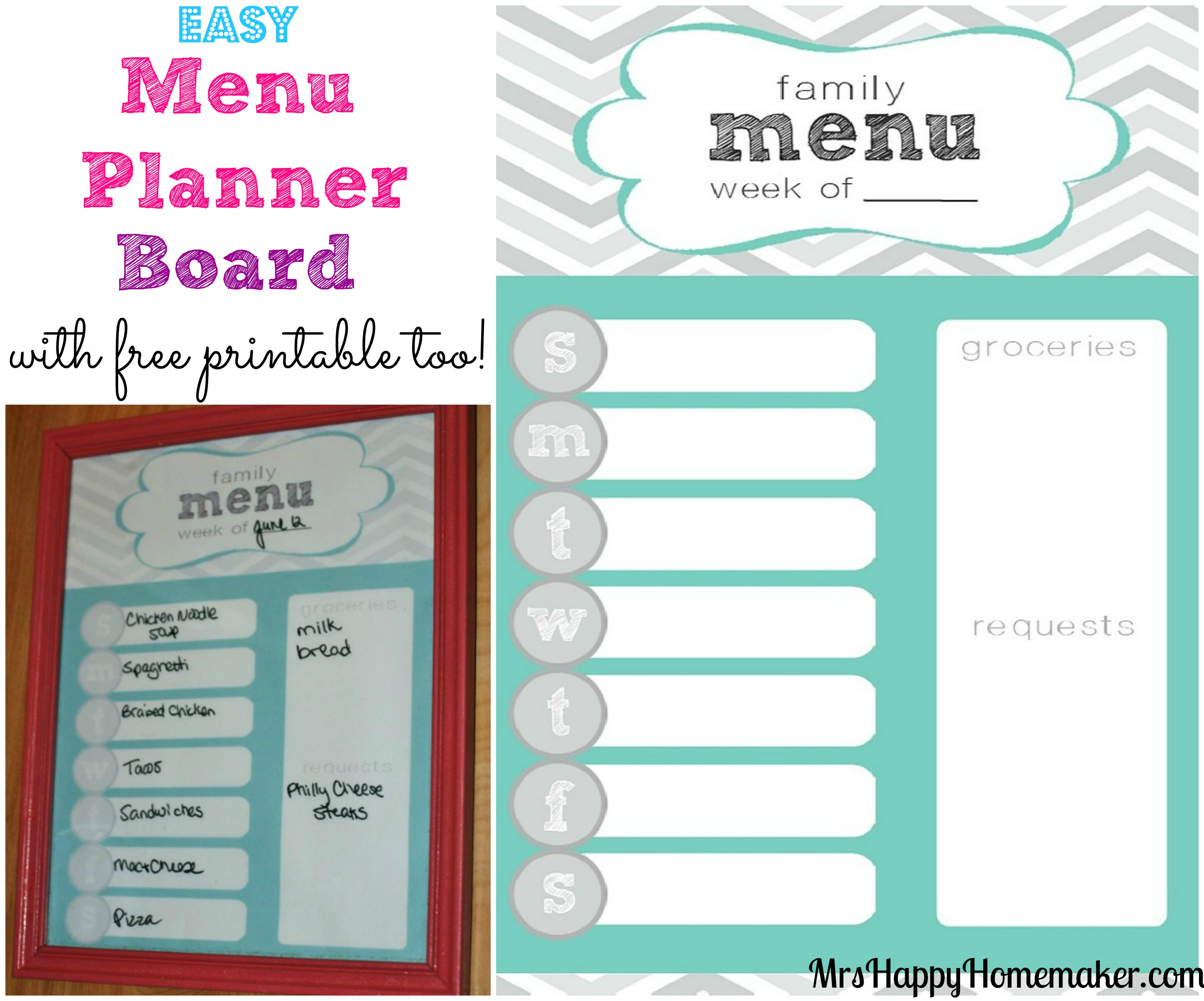 Easy Menu Planner Board - Mrs Happy Homemaker - Free Printable Menu