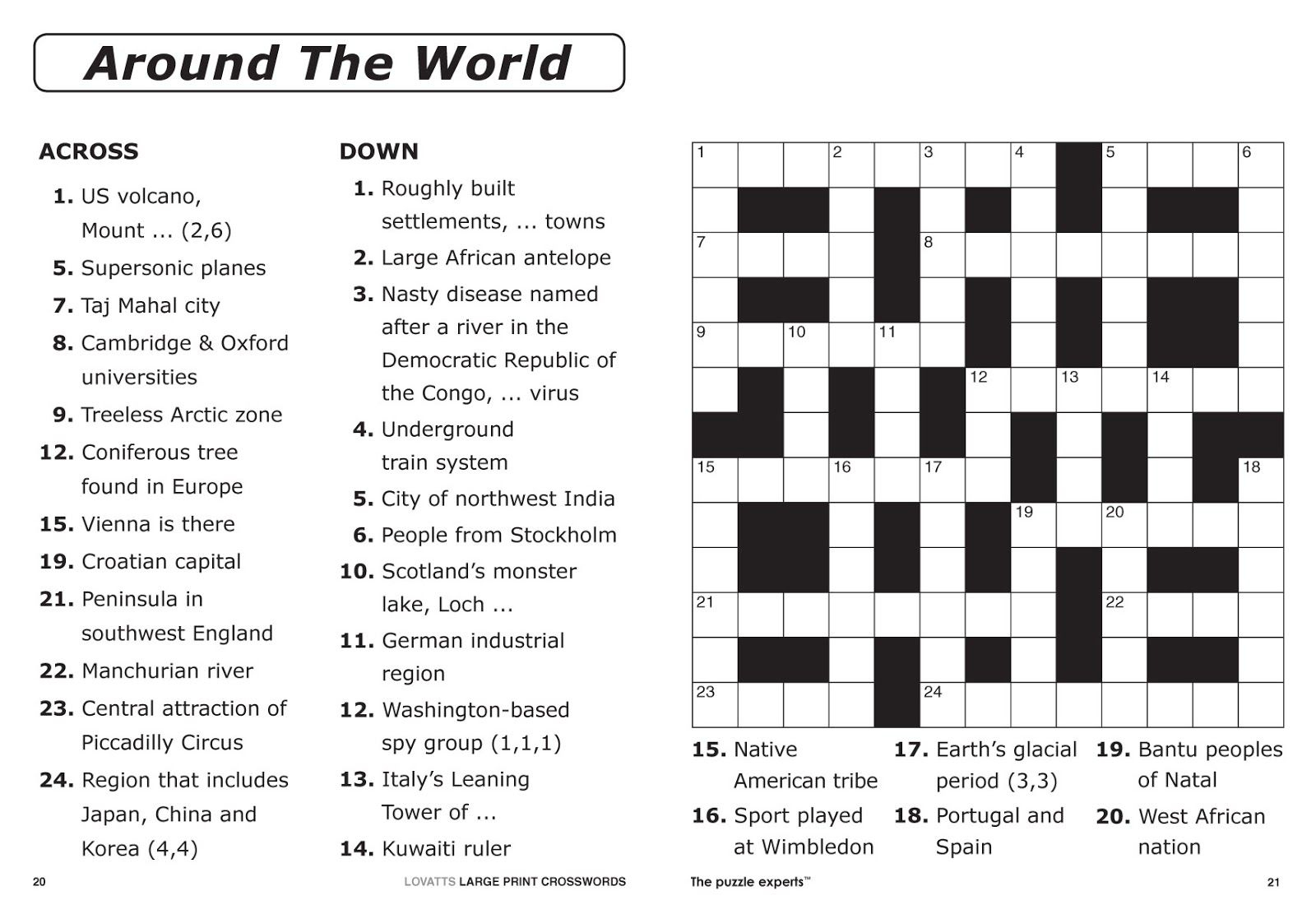 Easy Printable Crossword Puzzles   Elder Care & Dementia Care - Free Large Printable Word Searches