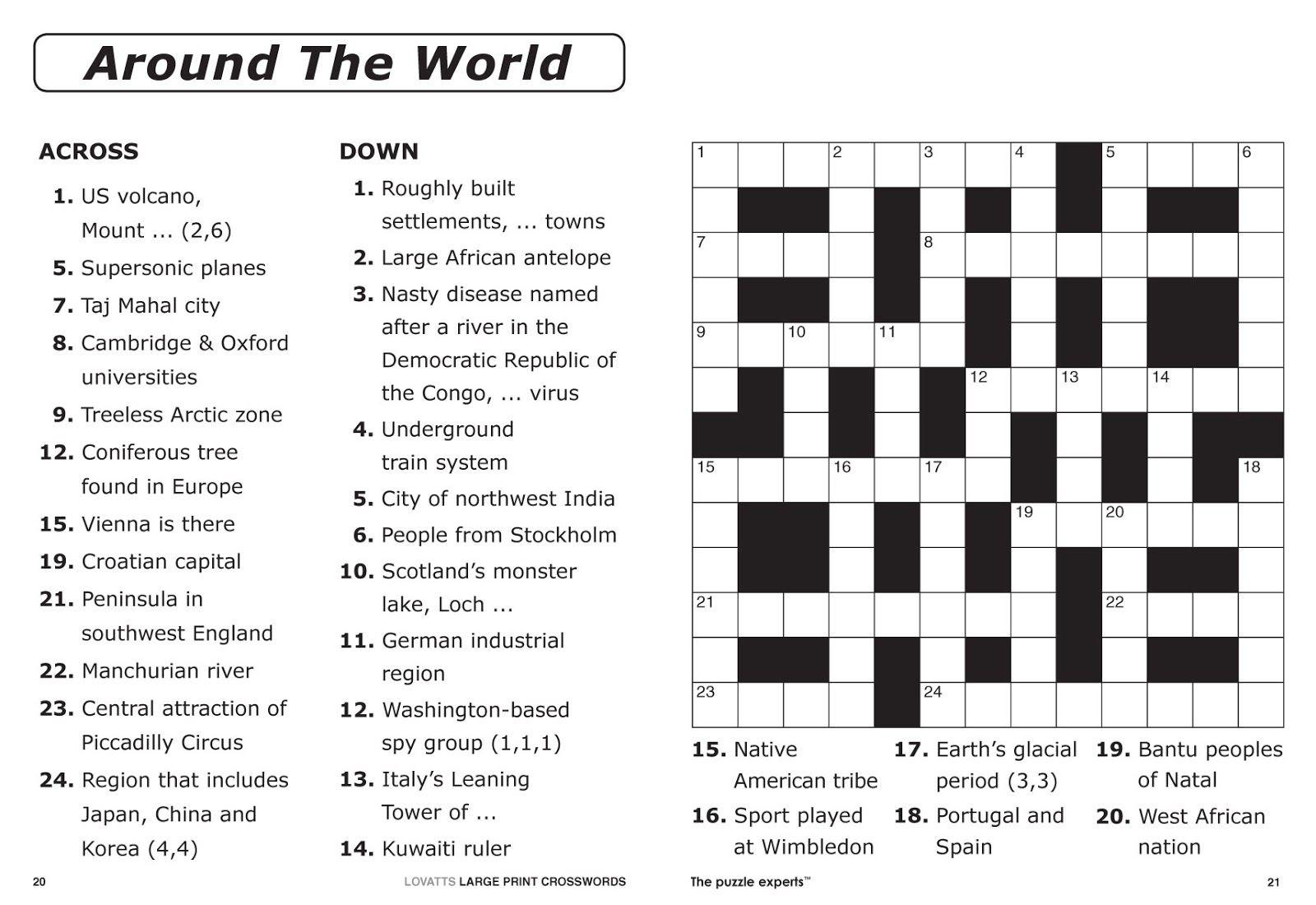 Easy Printable Crossword Puzzles   Elder Care & Dementia Care - Free Printable Crosswords Easy