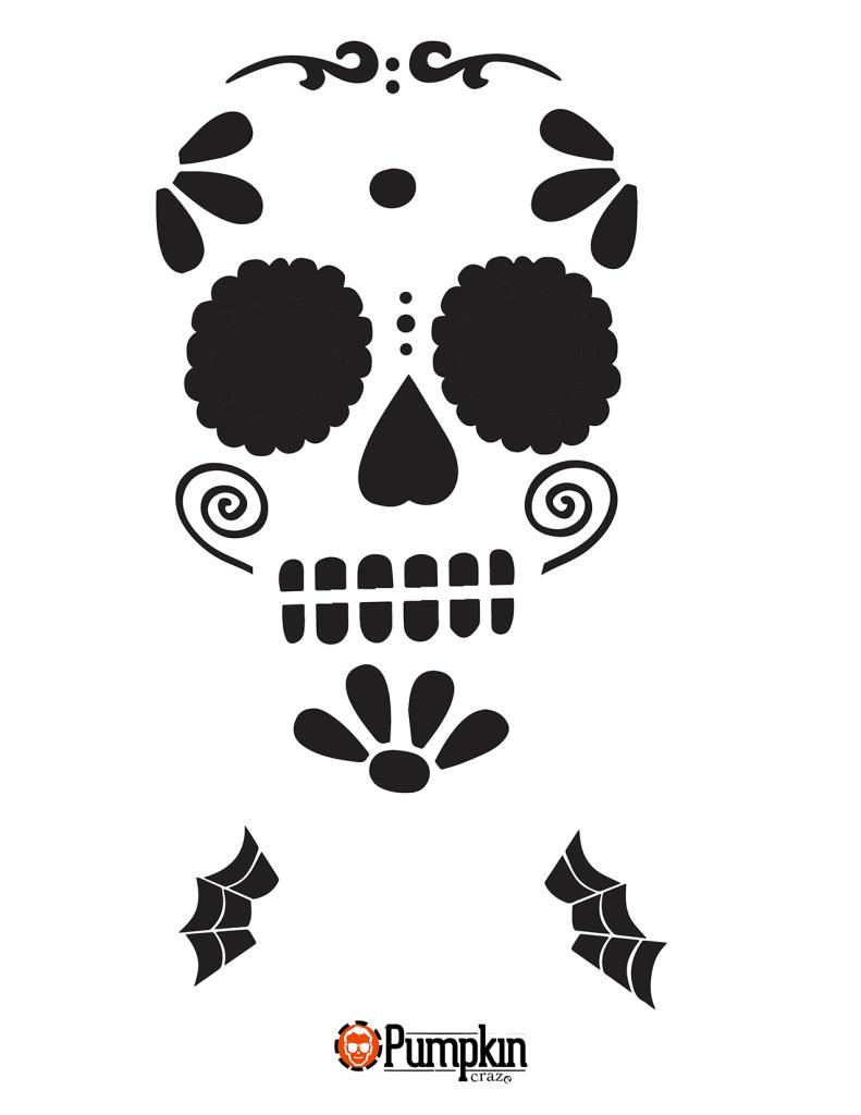 Easy Sugar Skull 7 | Halloween | Sugar Skull Pumpkin Stencil, Sugar - Skull Stencils Free Printable