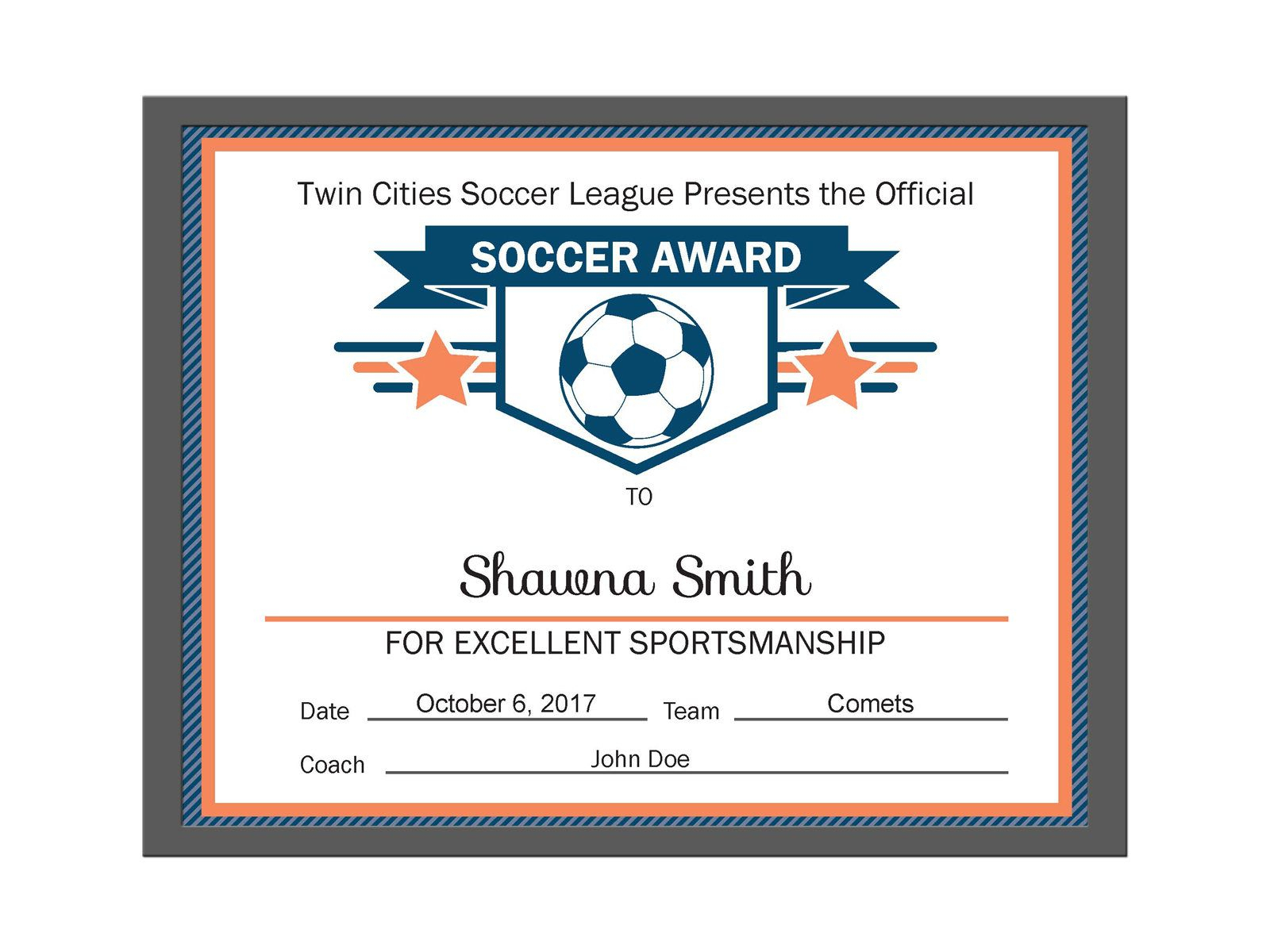 Editable Pdf Sports Team Soccer Certificate Award Template In 3 - Free Printable Soccer Certificate Templates