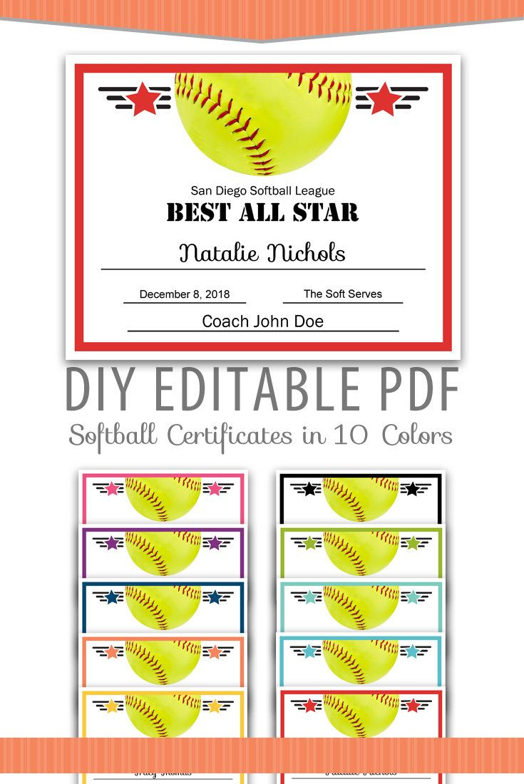 Editable Pdf Sports Team Softball Certificate Award Template In 10 - Free Printable Softball Certificates