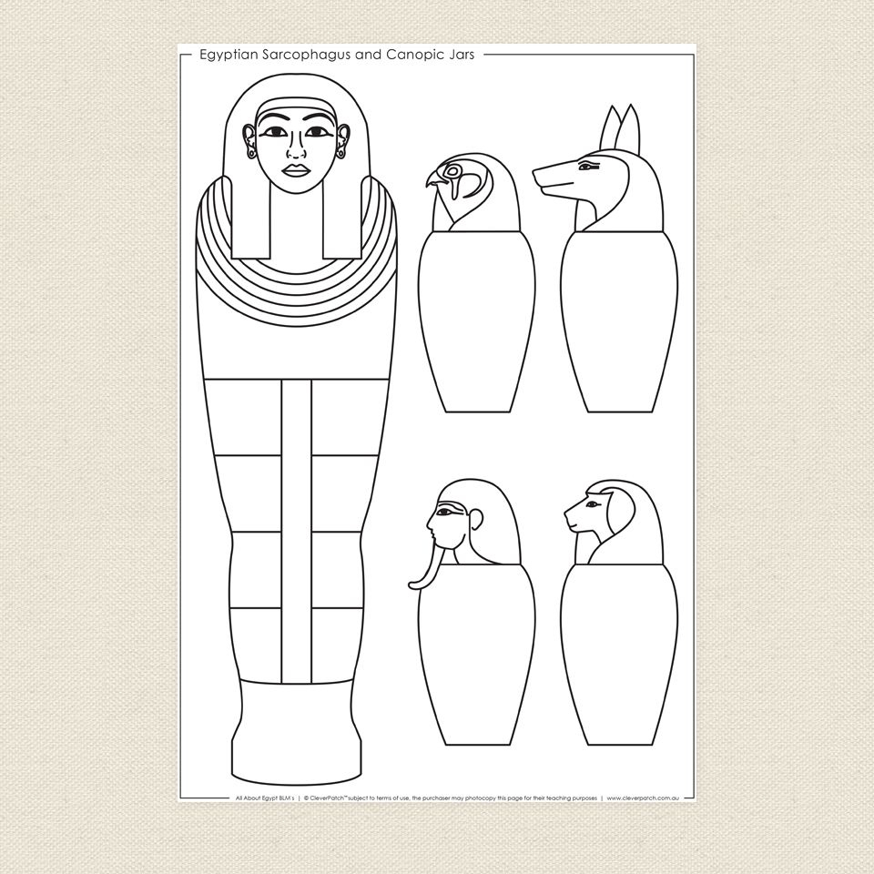 Egyptian Sarcophagus And Canopic Jars Colouring Sheet - Cleverpatch - Free Printable Sarcophagus