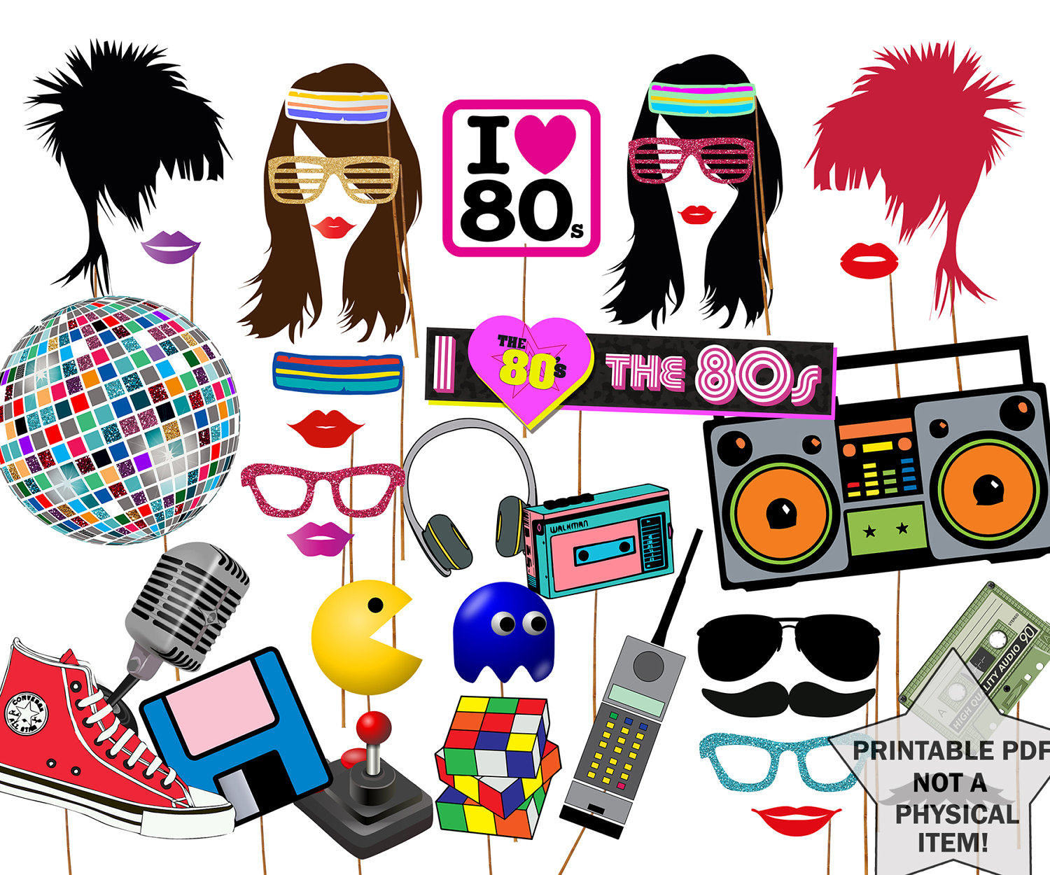 Eighties Clipart Collection - 80S Photo Booth Props Printable Free