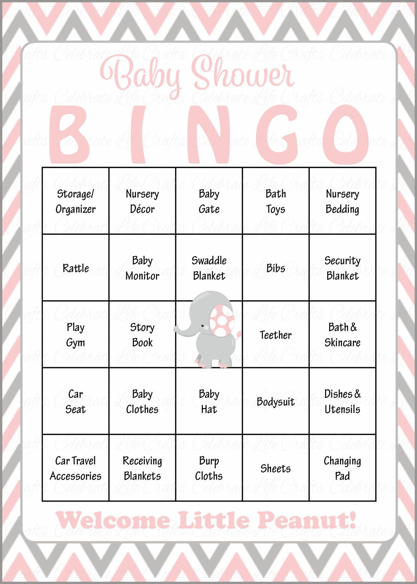Elephant Baby Bingo Cards - Printable Download - Prefilled - Baby - 50 Free Printable Baby Bingo Cards