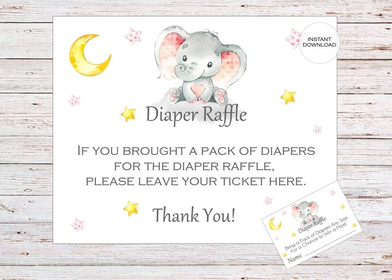 Elephant Printable Diaper Raffle Ticket Elephant Baby Shower   Etsy - Free Printable Diaper Raffle Tickets Elephant