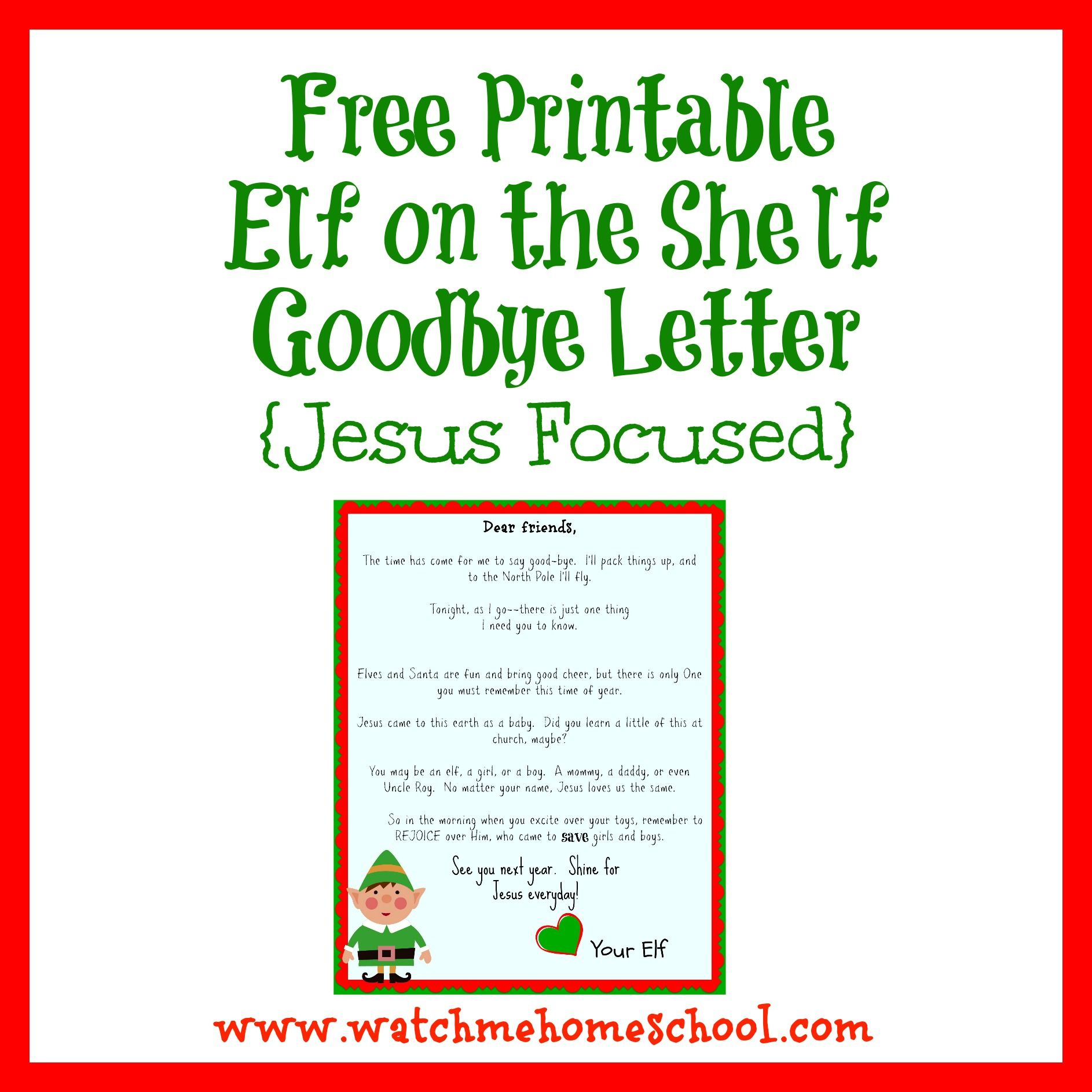 Elf On The Shelf Farewell Letter Printable   Elf On The Shelf - Elf On A Shelf Goodbye Letter Free Printable