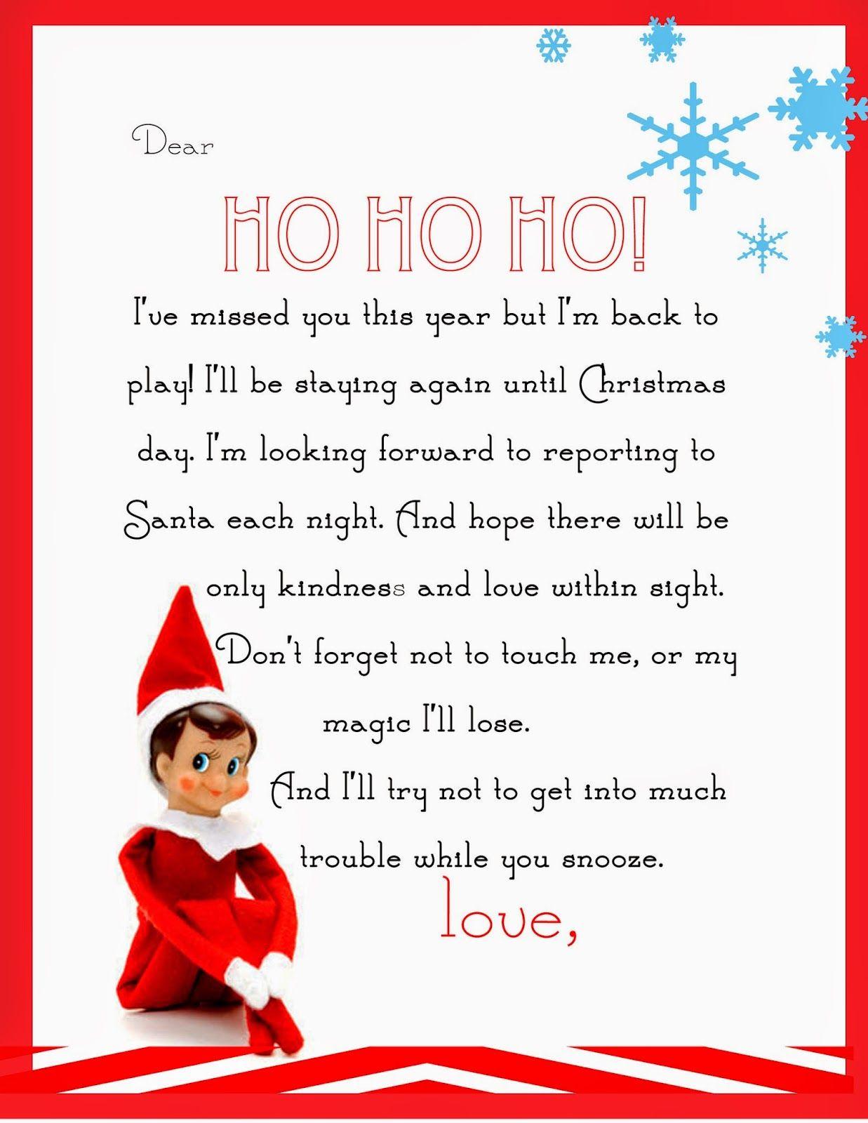 Elf On The Shelf Letter {Free Printable} | Para Las Muñecas - Elf On The Shelf Goodbye Letter Free Printable
