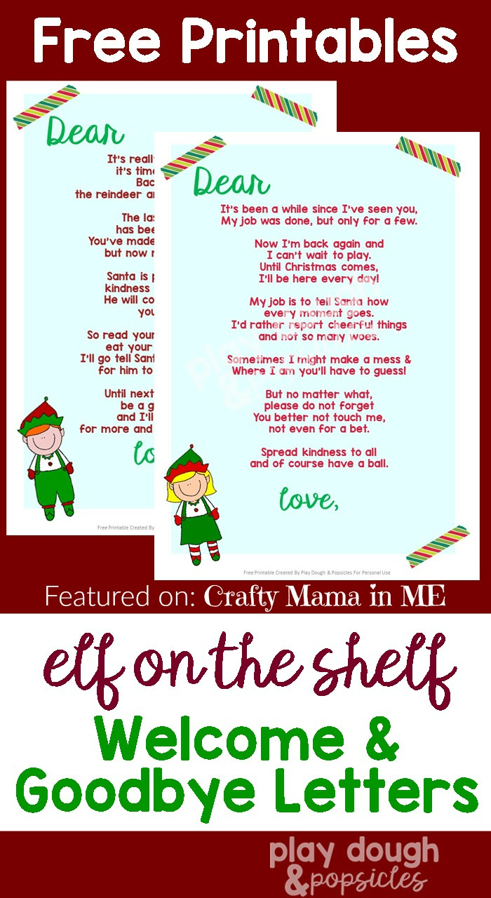 Elf On The Shelf Letters {Free Printables} - Crafty Mama In Me! - Elf On The Shelf Goodbye Letter Free Printable