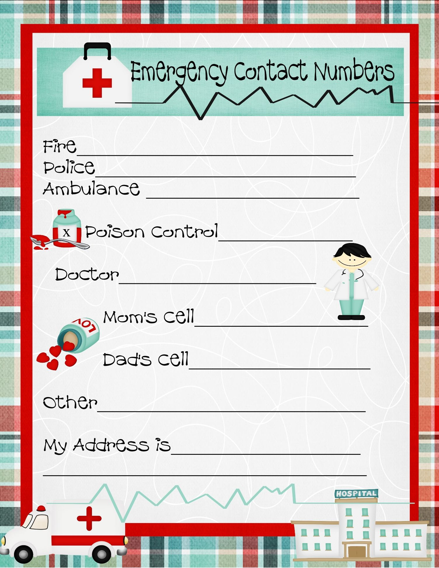 Emergency Numbers Printable   Emergency Contact Phone Numbers And A - Free Printable Emergency Phone List