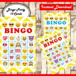 Emoji Bingo 10 Cards Printable Emojis Bingo Game Emoji | Etsy   Free Emoji Bingo Printable