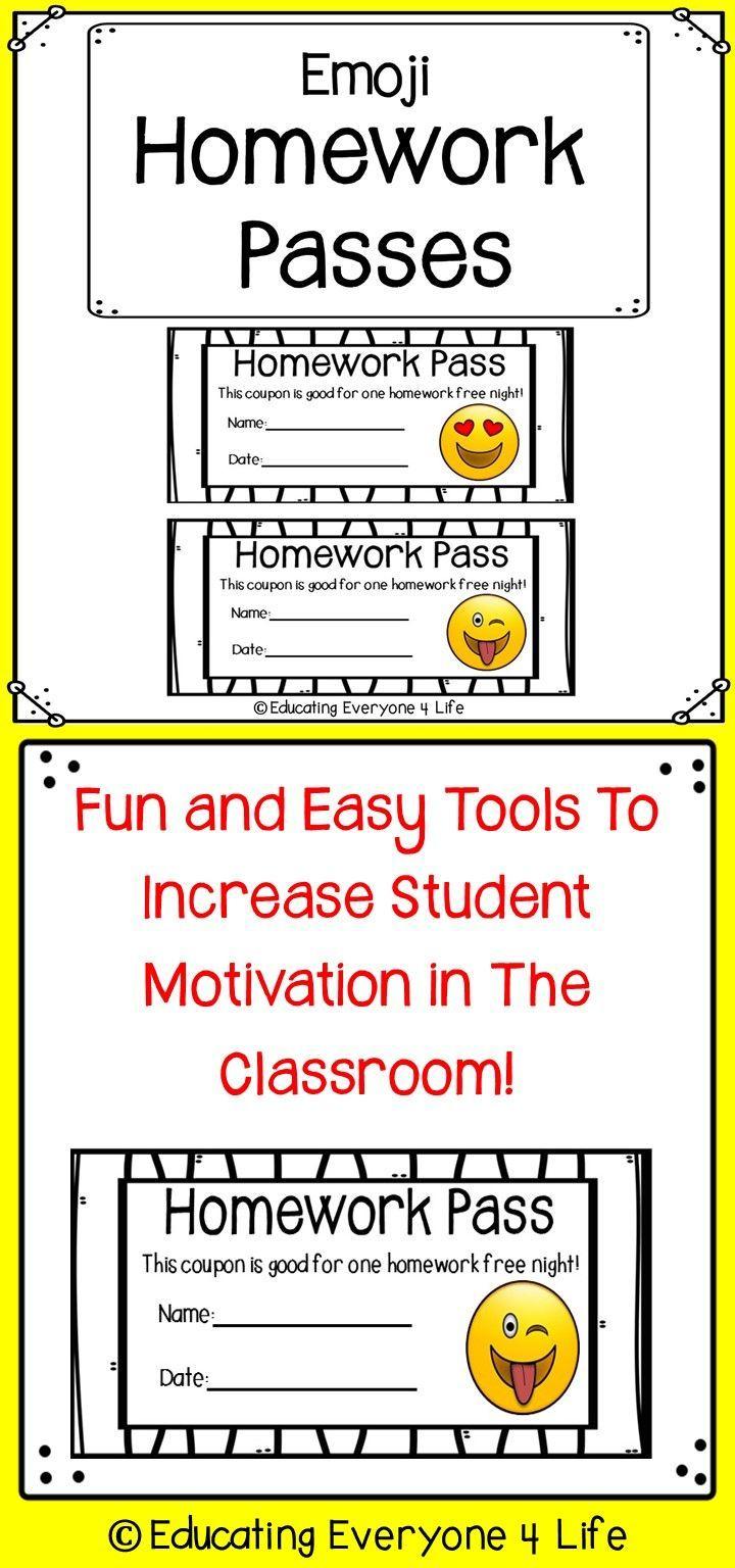 Emoji Homework Passes | *education 4 All ~ Open Board | Classroom - Free Printable Homework Pass Coupon