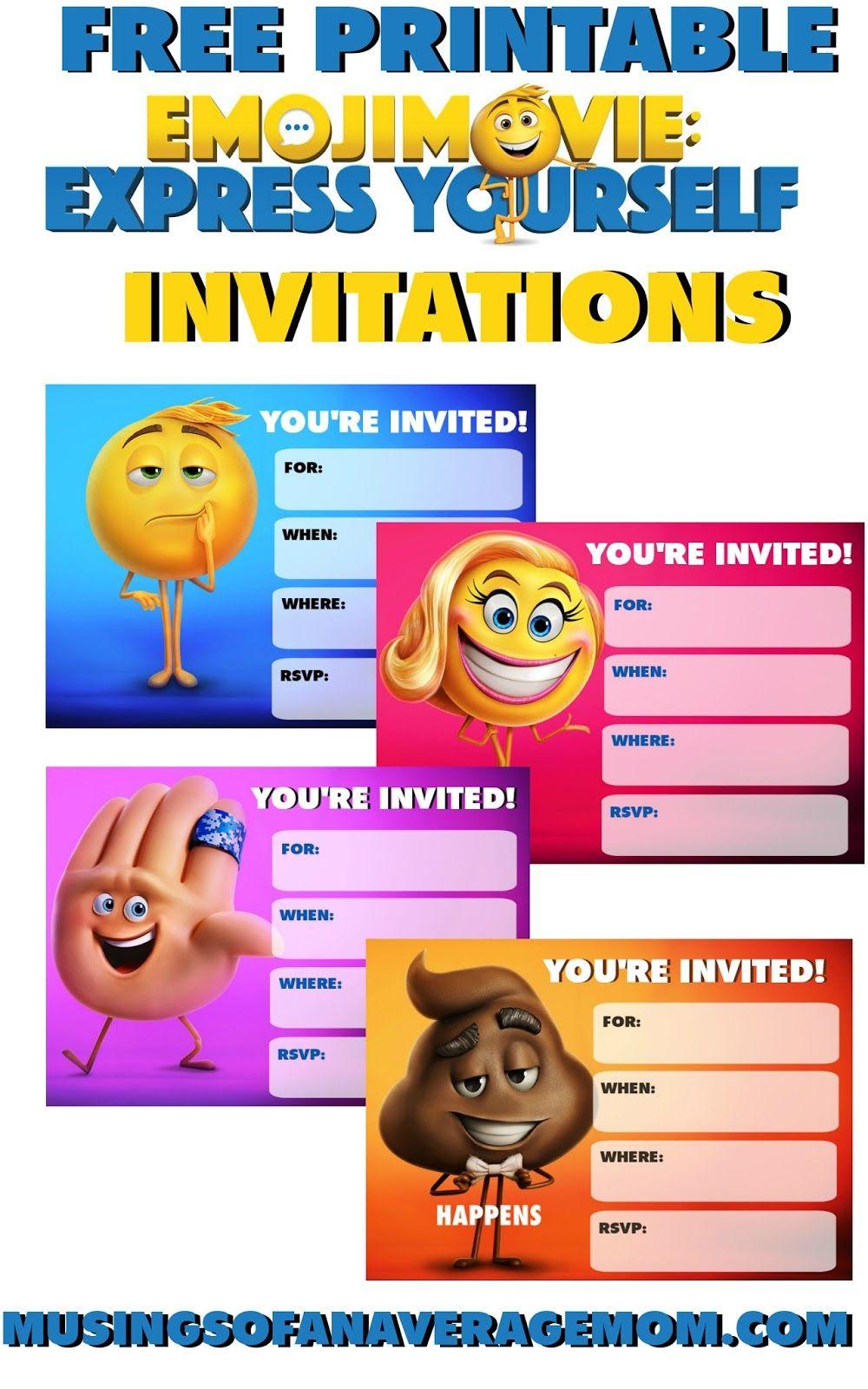 Emoji Movie Invitations | Emoji Printables | Party, Emoji - Free Printable Emoji B Day Invites