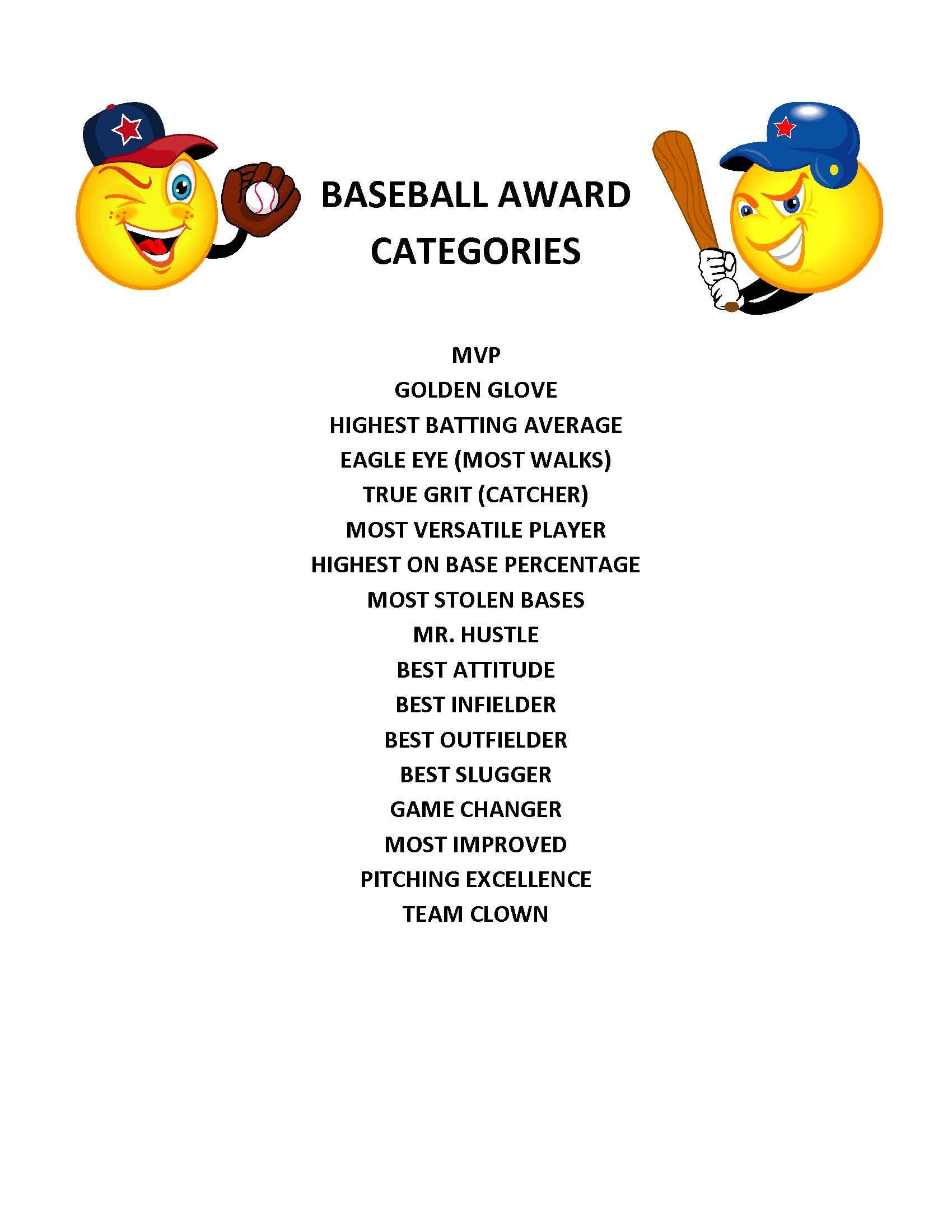End Of Season Baseball Award Categories   Kid's Baseball Party - Free Printable Softball Award Certificates