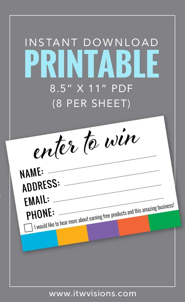 Enter To Win Printable | Rodan Fields | Rodan, Fields Business - Rodan And Fields Mini Facial Instructions Printable Free