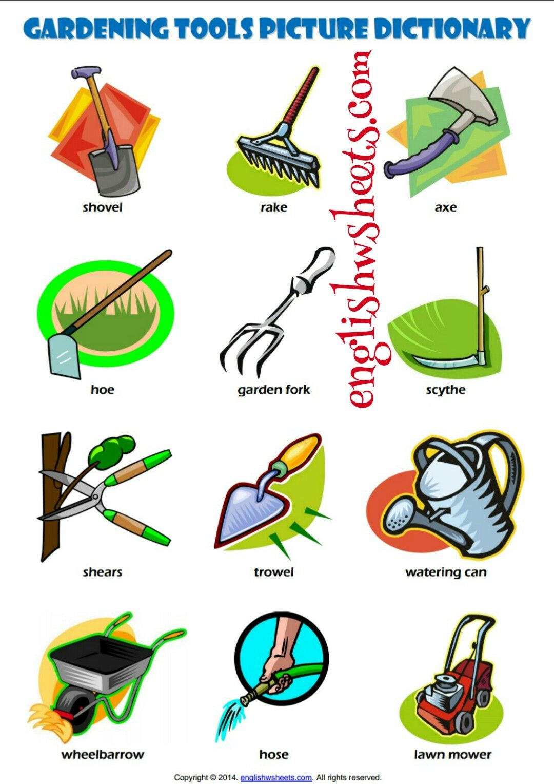 Esl Printable Gardening Tools Vocabulary Worksheets For Kids #esl - Free Printable Picture Dictionary For Kids