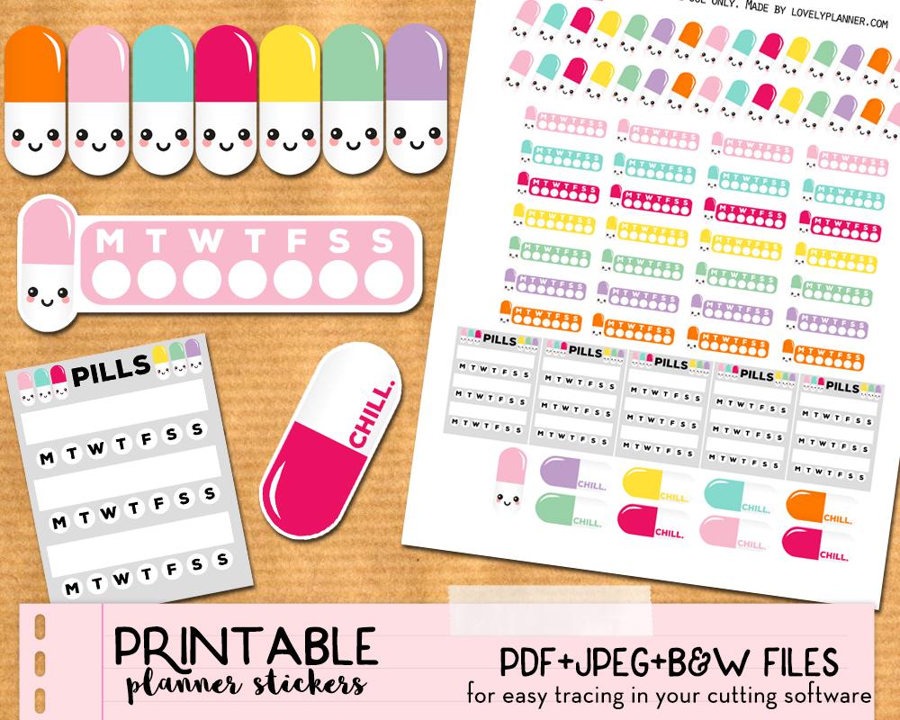Etsy Mock Up Combo Mix Kawaii Pills Lp - Lovely Planner - Free Printable Kawaii Stickers