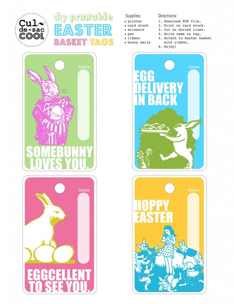 Every Cool Easter Basket Needs A Cool Tag. I've Got Just The Thing - Free Printable Easter Basket Name Tags