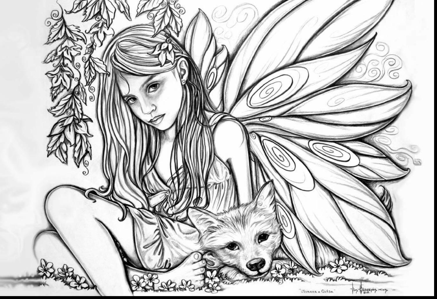 Fairy Coloring Pages For Adults 2 #30627 - Free Printable Coloring Pages Fairies Adults