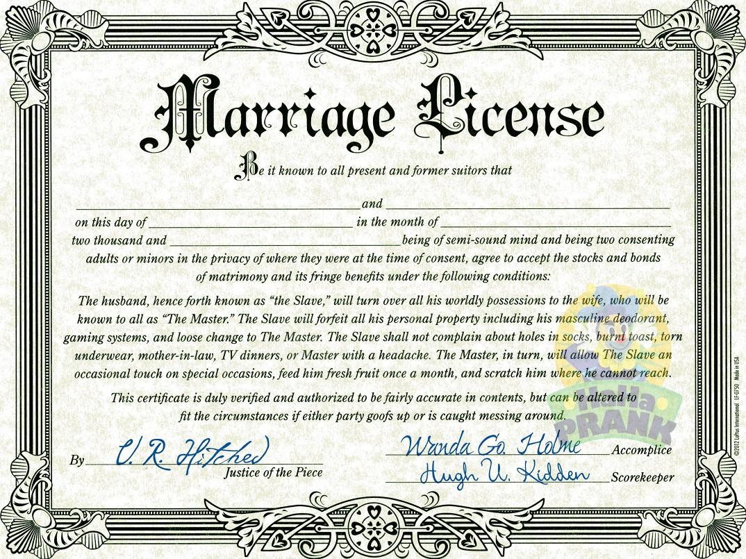 Fake Wedding Certificate | Printable Birthday Certificates - Fake Marriage Certificate Printable Free