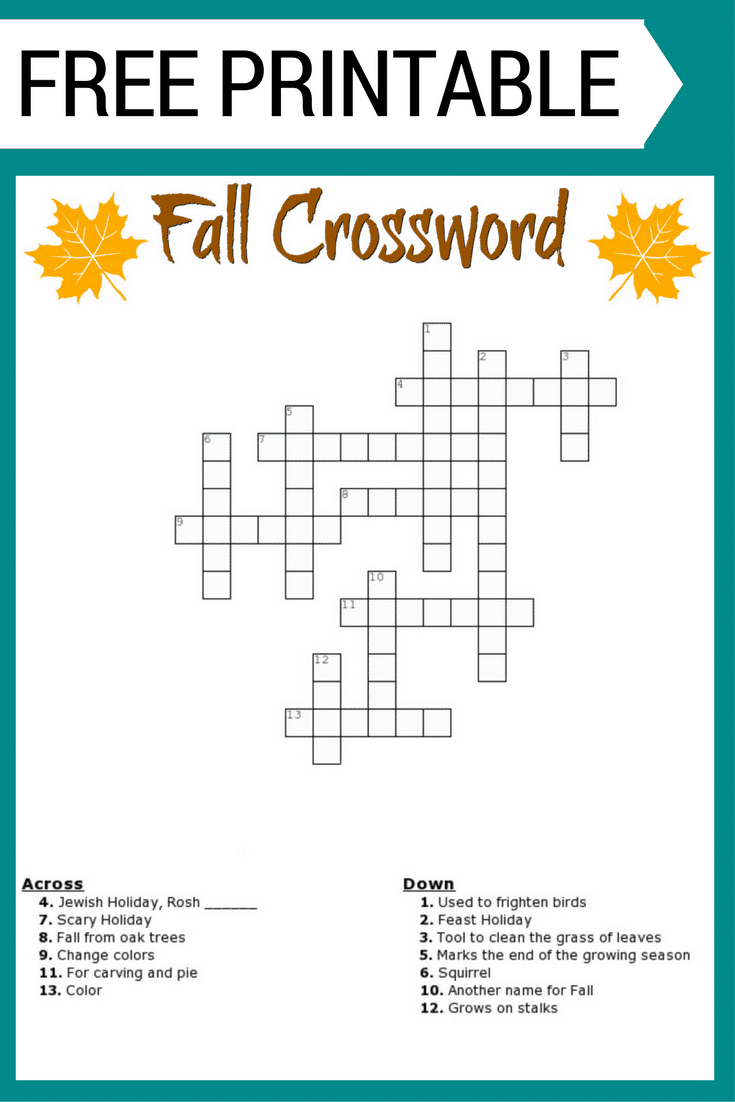 Fall Crossword Puzzle Free Printable Worksheet - Free Printable Puzzles