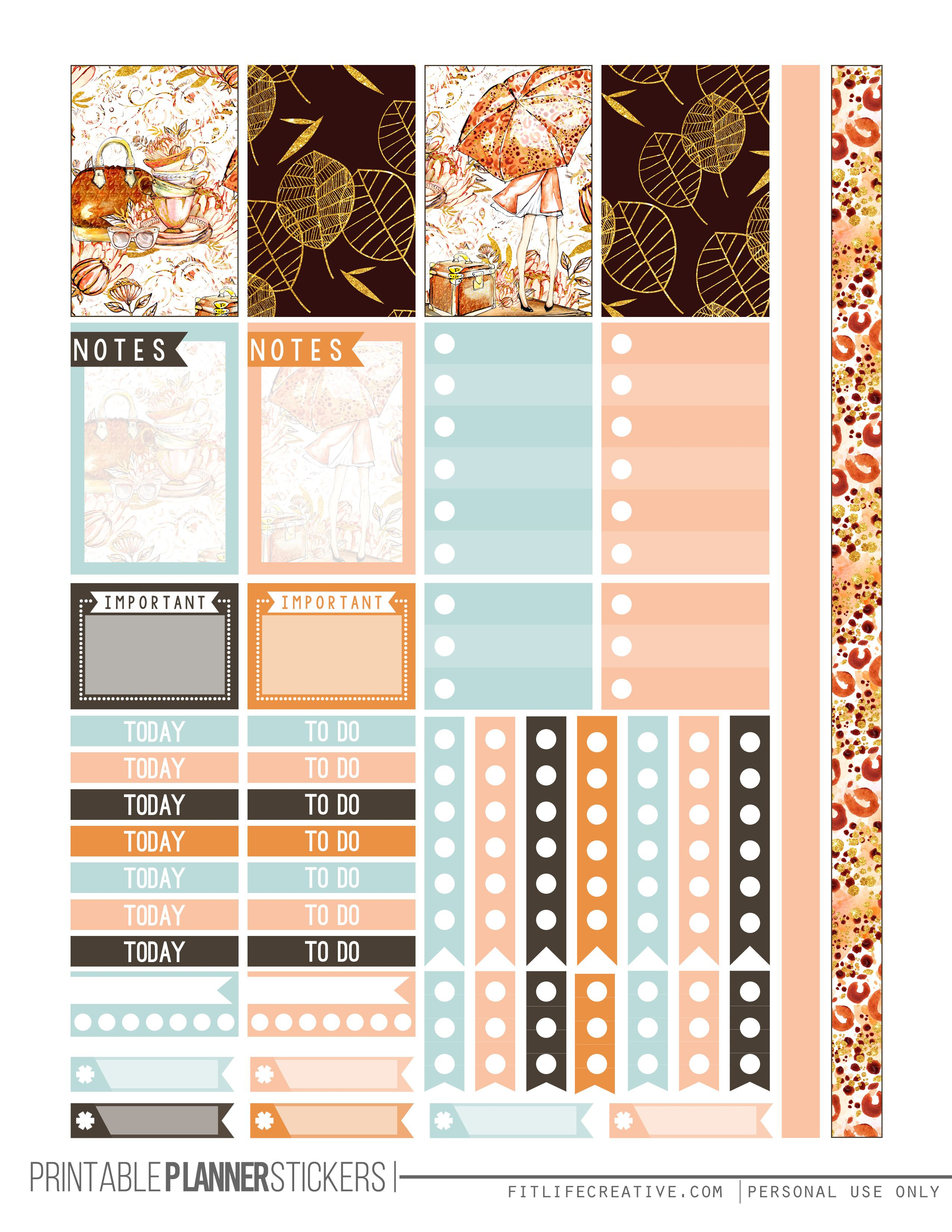 Fall Glam Free Printable Planner Stickers For The Classic Size Happy - Happy Planner Free Printable Stickers