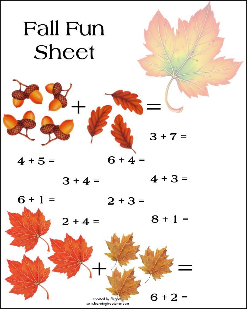 Fall Math Worksheet! - Free Printable Fall Math Worksheets