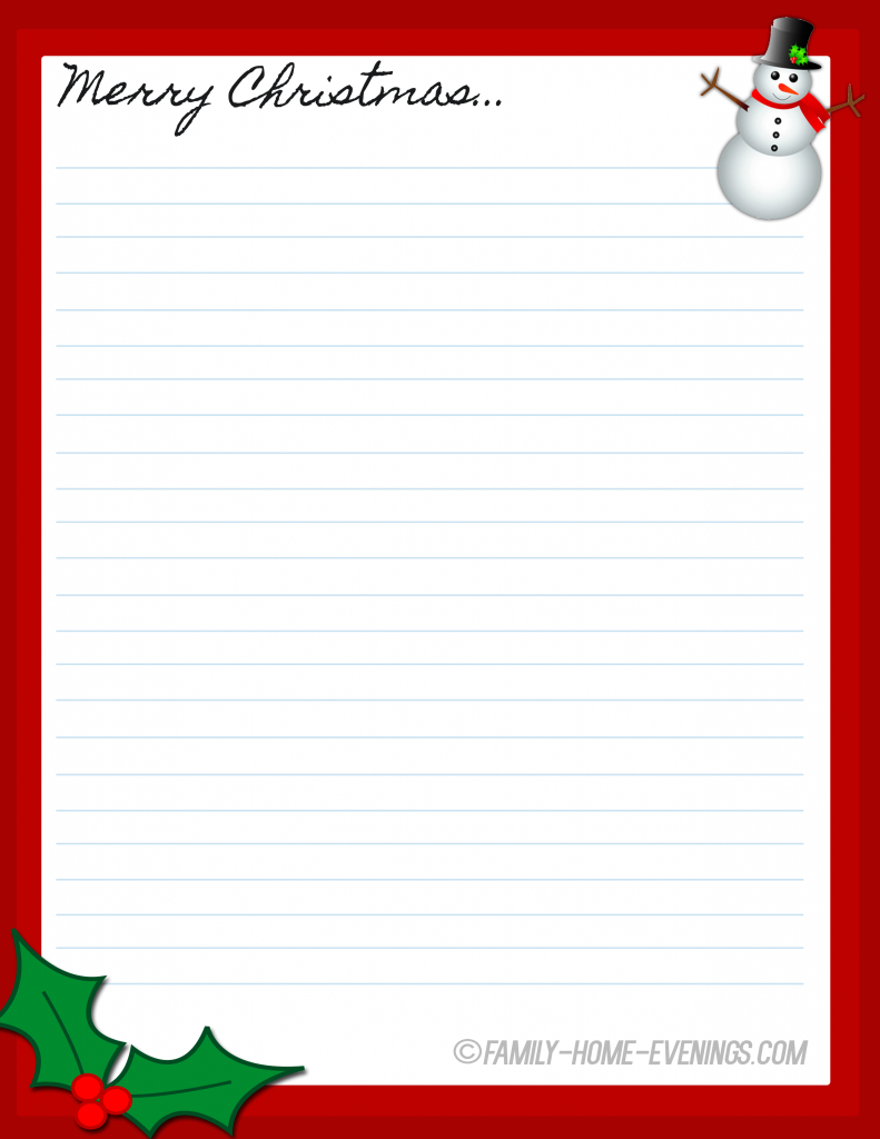 Family Home Evening Christmas Stationary Free Printable Copy | Free - Free Printable Christmas Stationary