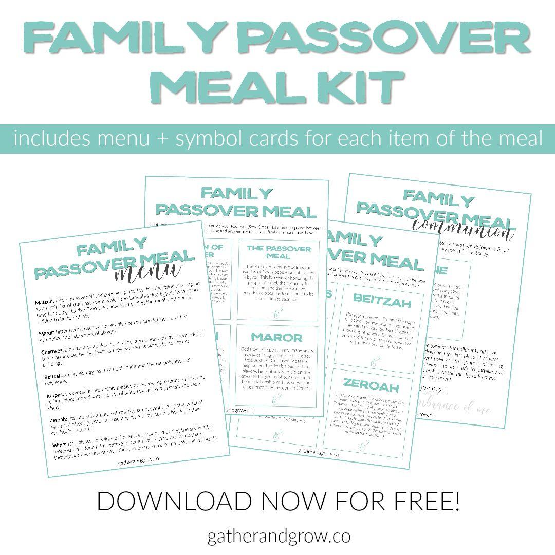 Family Passover Meal Menu And Symbol Cards. Free Printable Kit To - Free Printable Messianic Haggadah