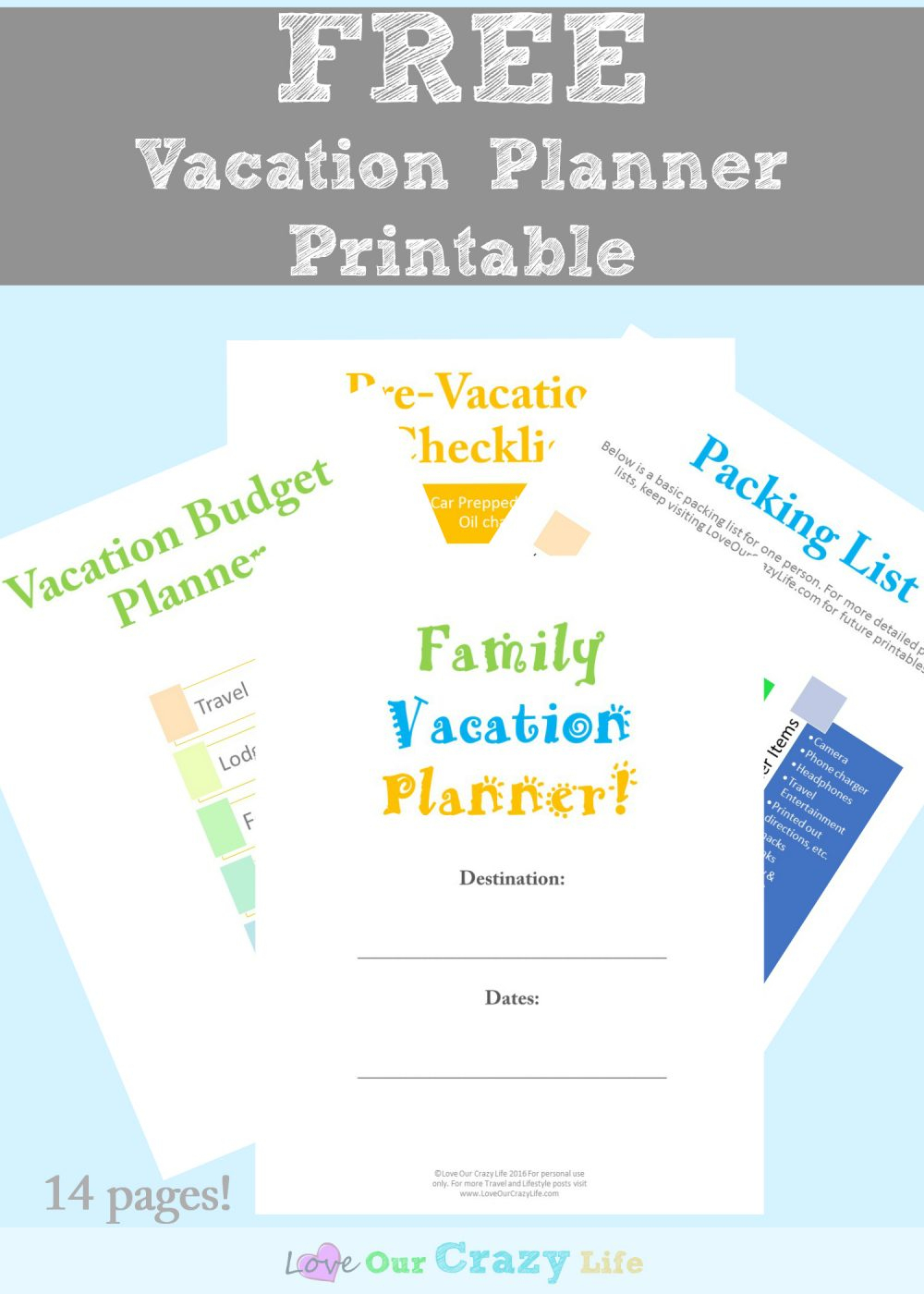 Family Vacation Planning Tips (Free Planner)   This Crazy Adventure - Free Printable Trip Planner