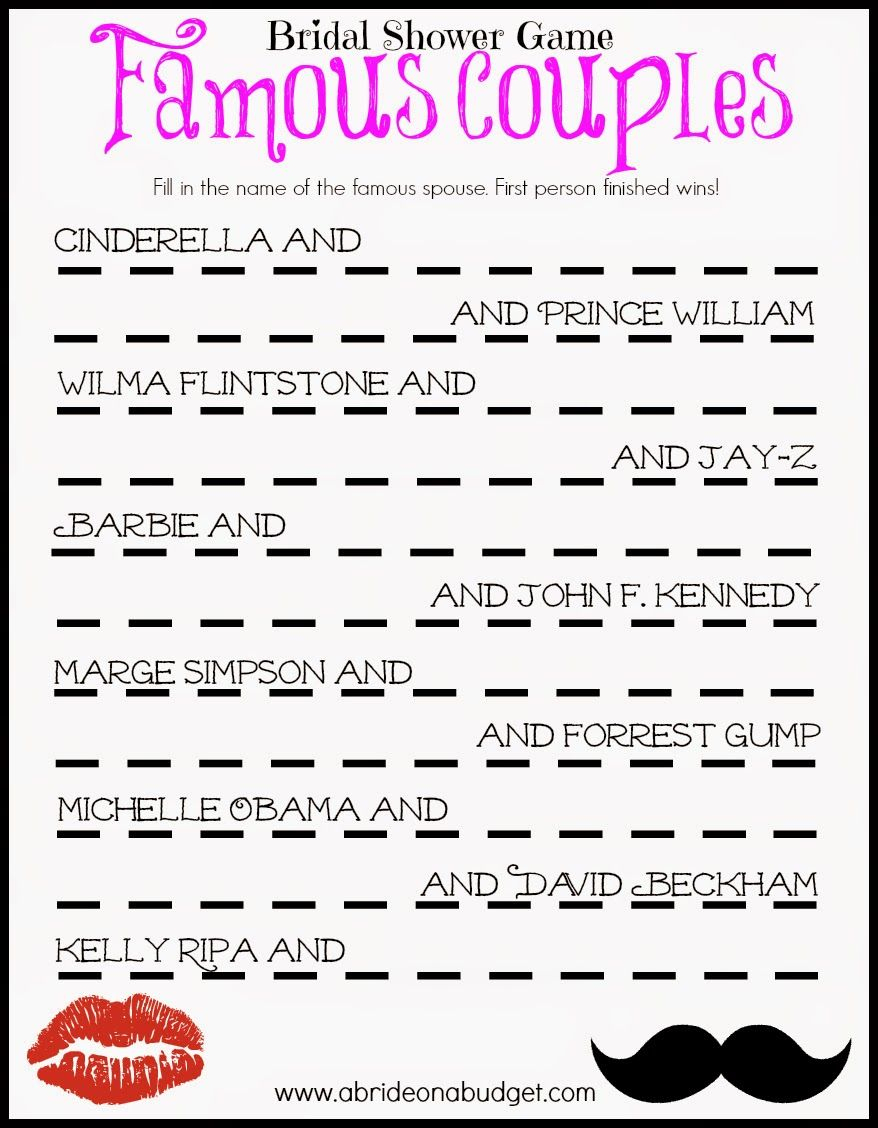 Famous Couples Bridal Shower Game (Free Printable) | Frugal And - Free Printable Wedding Shower Games