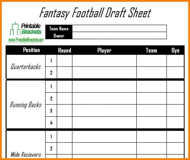 Fantasy Football Draft Sheets Printable Free