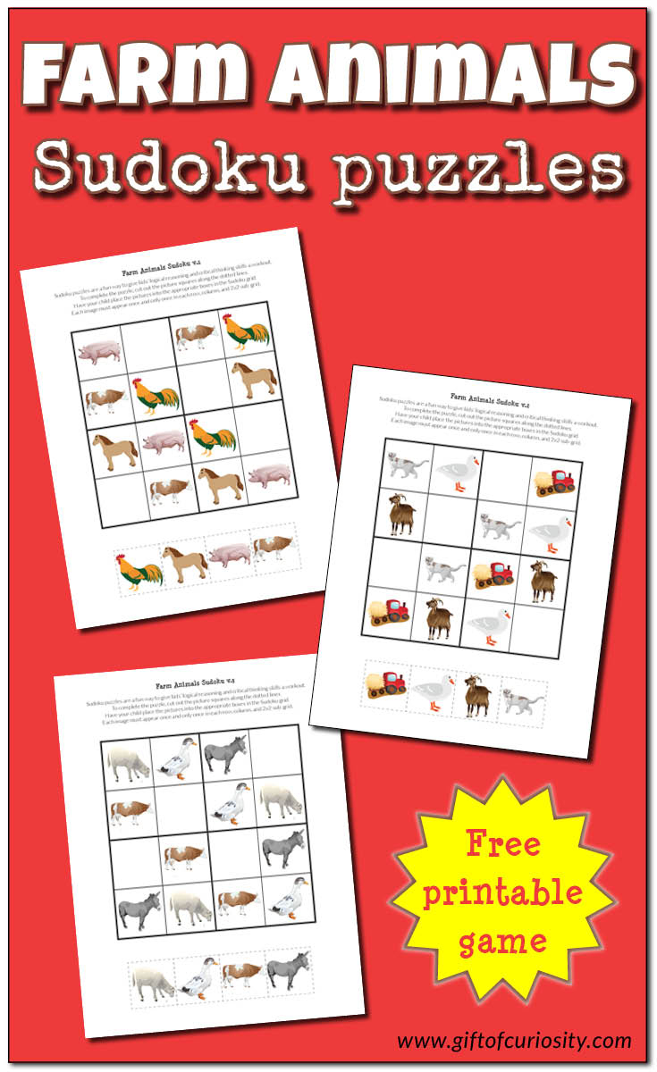 Farm Animals Sudoku Puzzles {Free Printables} - Gift Of Curiosity - Free Printable Critical Thinking Puzzles