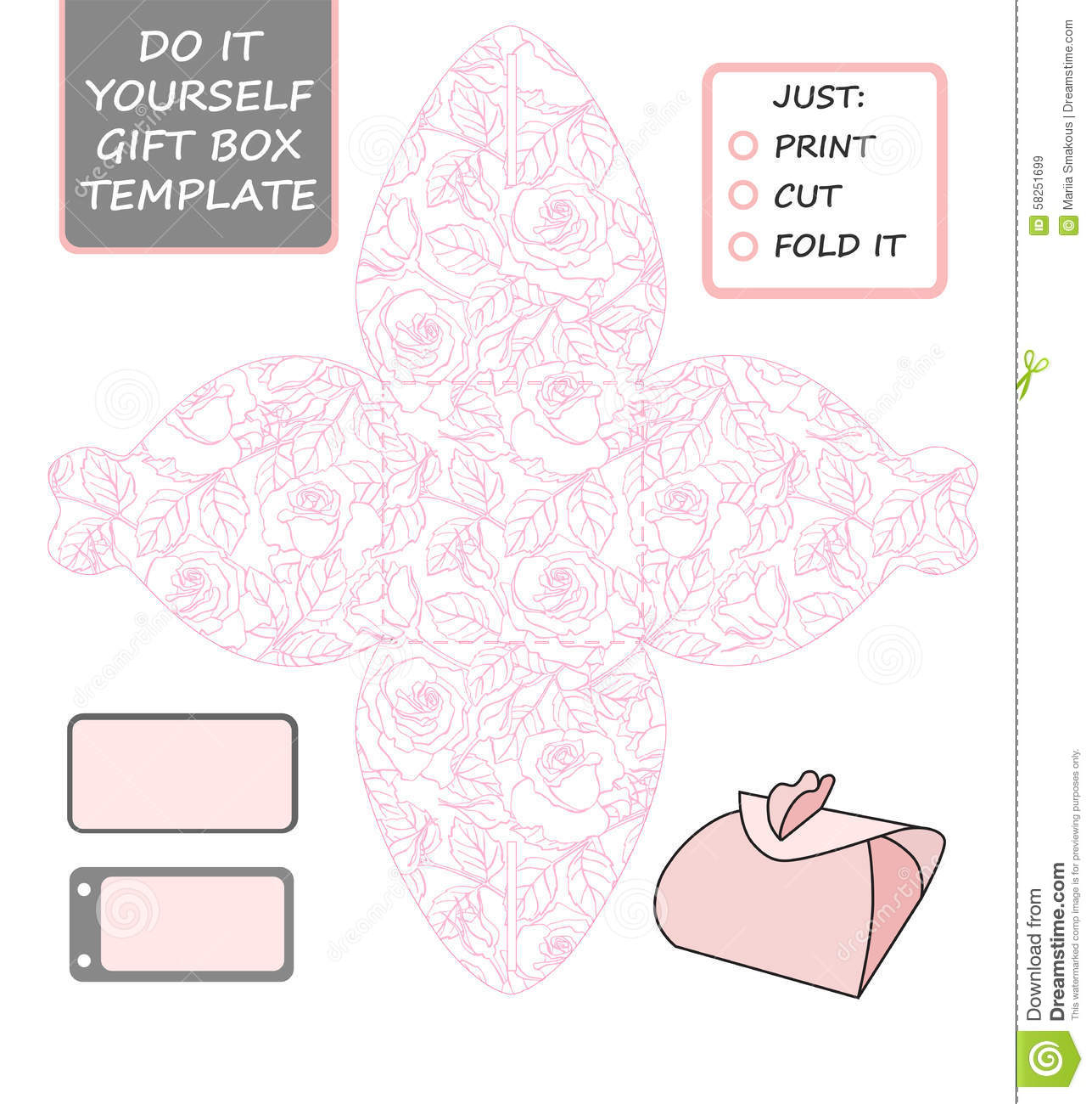 Favor, Gift Box Die Cut. Box Template With Rose Pattern. Stock - Printable Box Templates Free Download