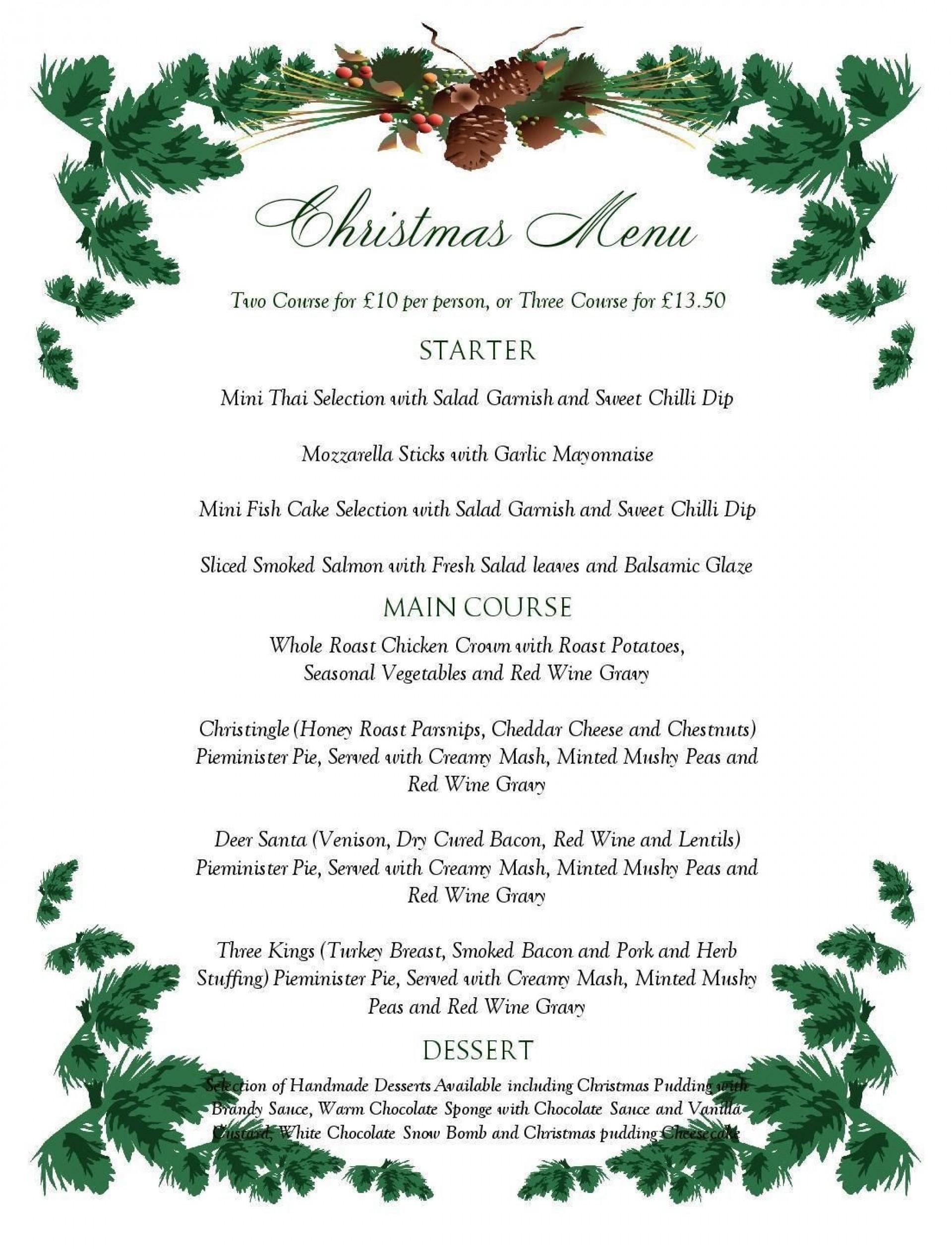 Fearsome Menu Template Free Printable ~ Ulyssesroom - Free Printable Christmas Dinner Menu Template